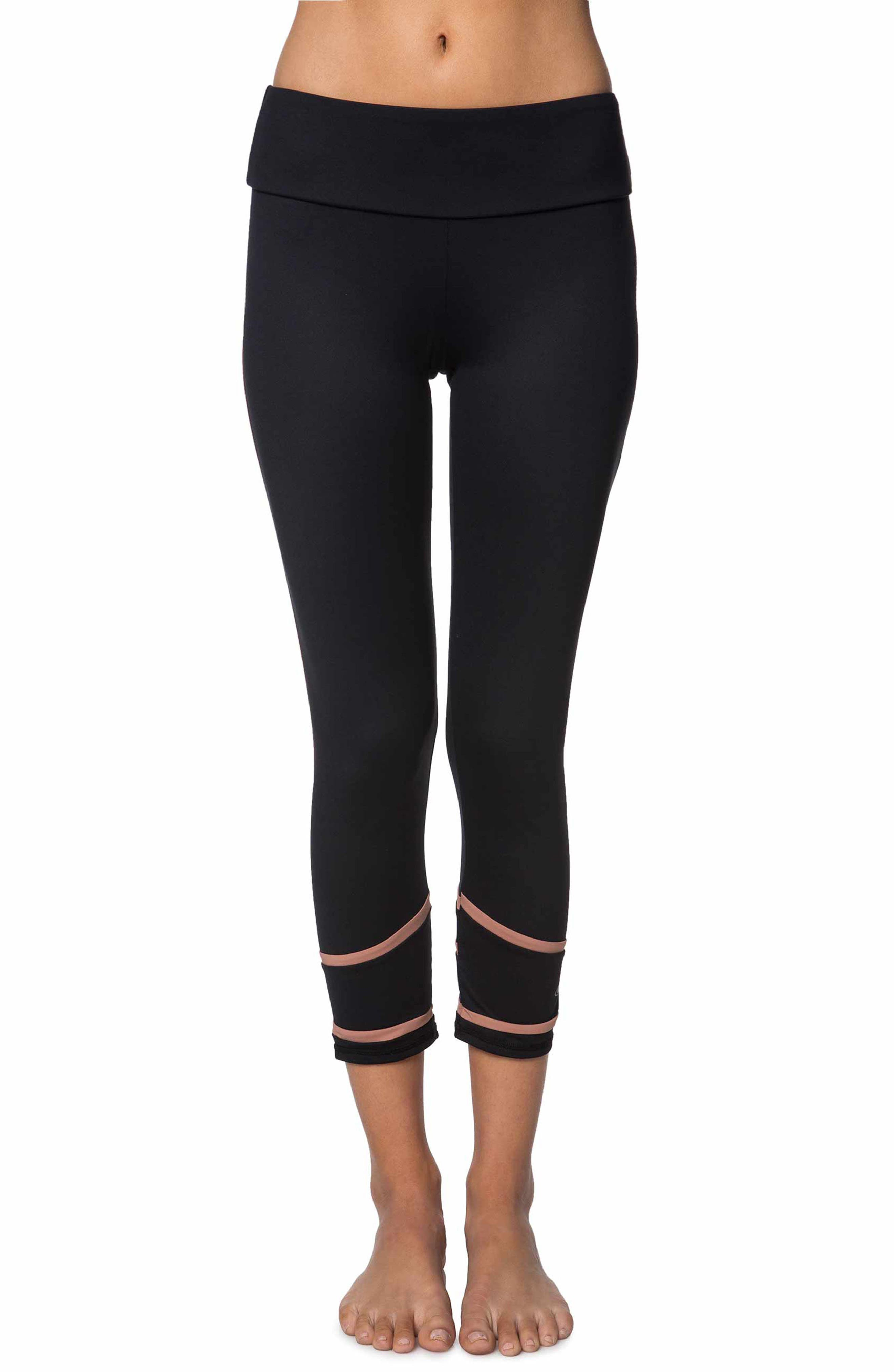 Coastal Block Crop Leggings,                             Main thumbnail 1, color,                             Black