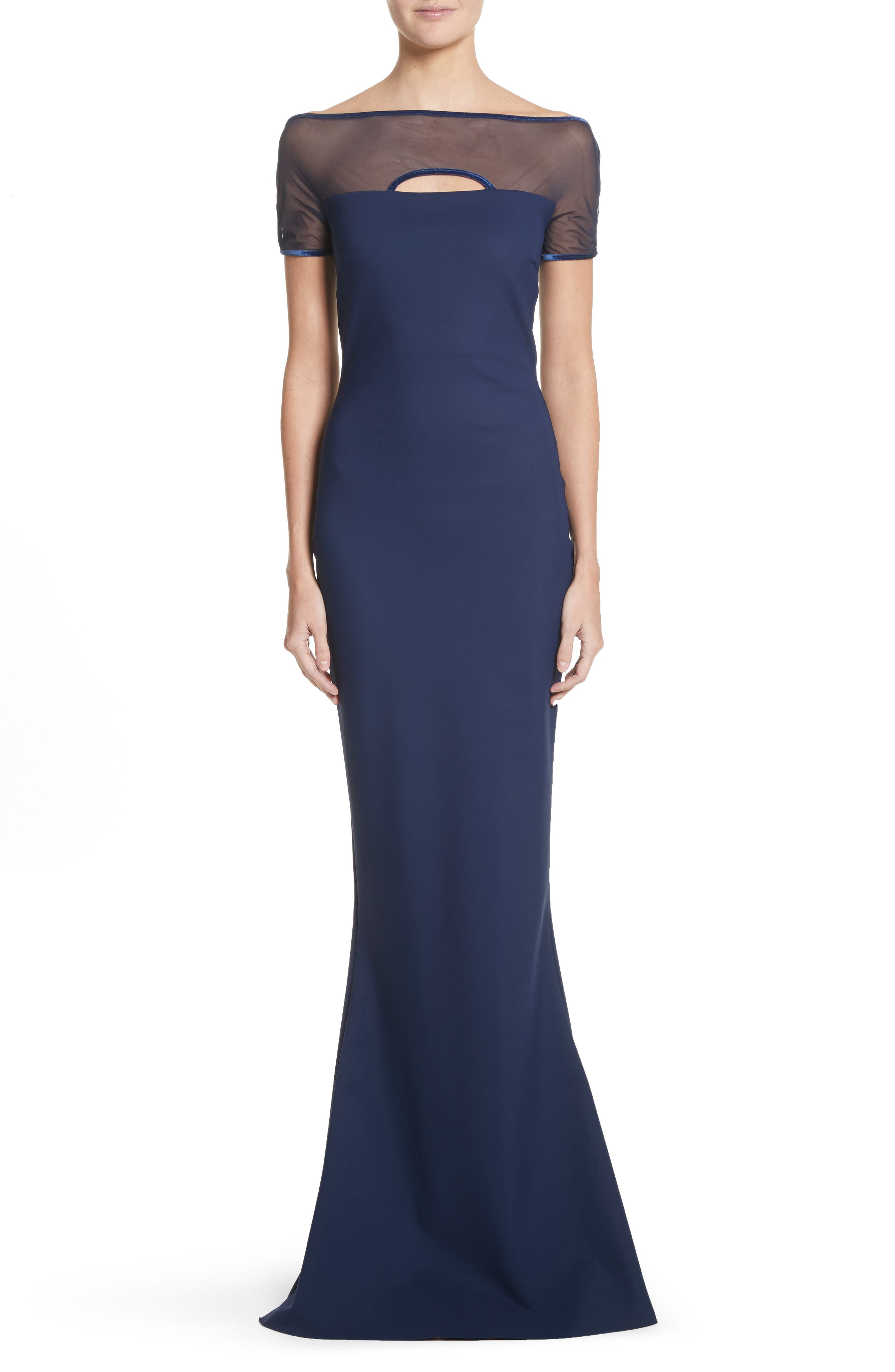 Stormy Illusion Bodice Mermaid Gown,                         Main,                         color, Blu Notte