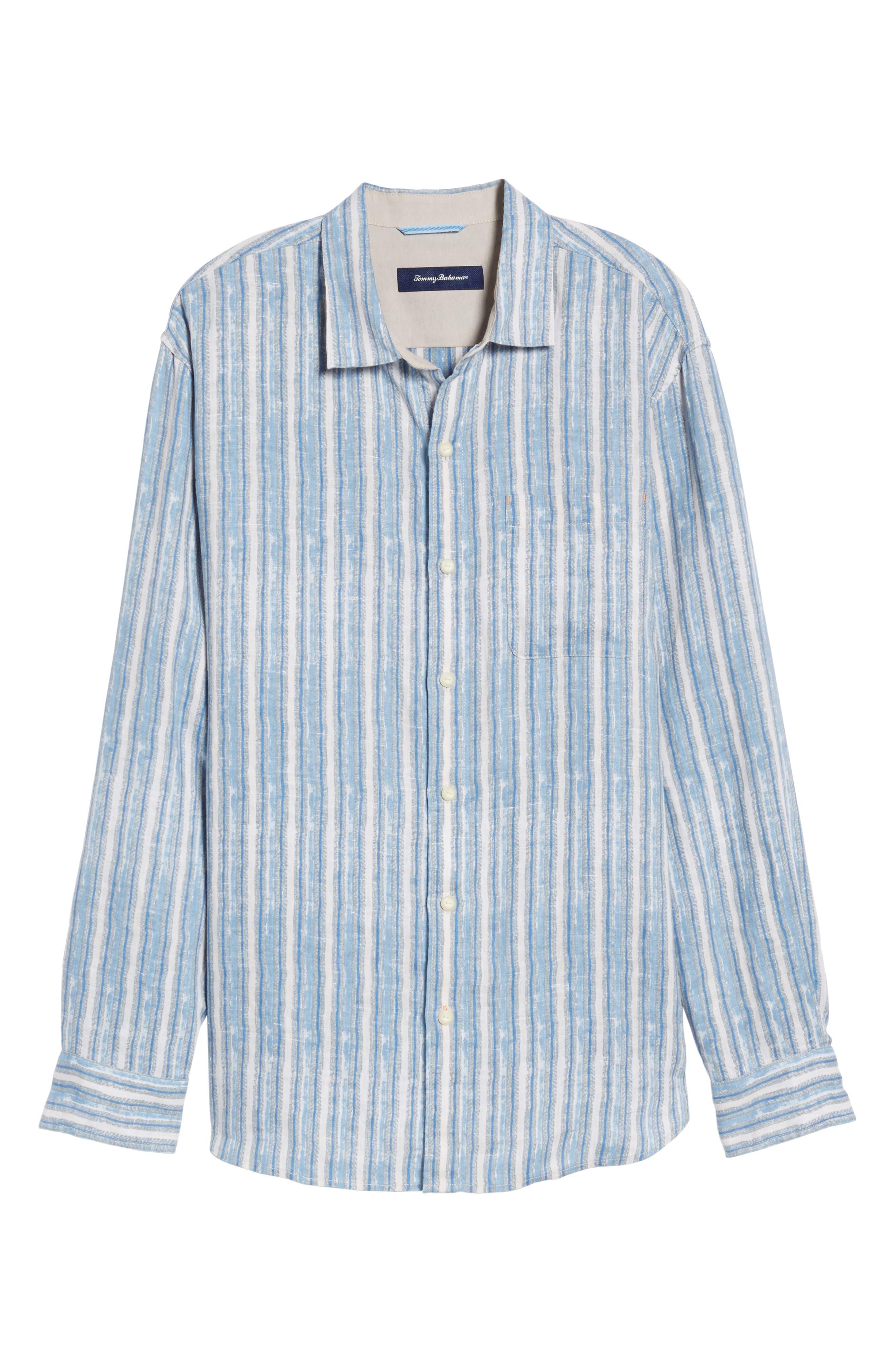Along Shore Stripe Linen Sport Shirt,                             Alternate thumbnail 6, color,                             Fjord