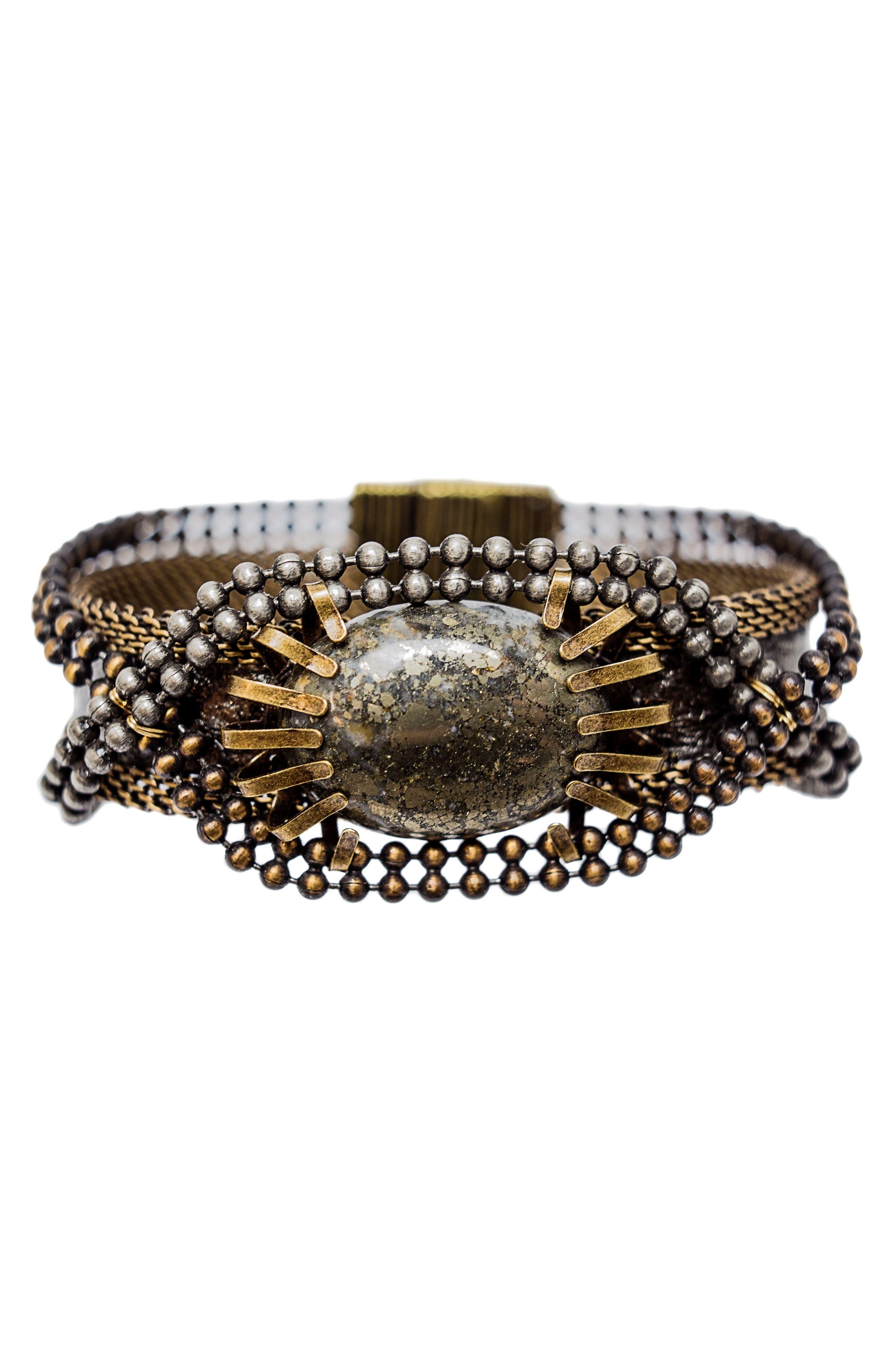 Stone & Snakeskin Bracelet,                             Main thumbnail 1, color,                             Bronze/ Silver/ Gold