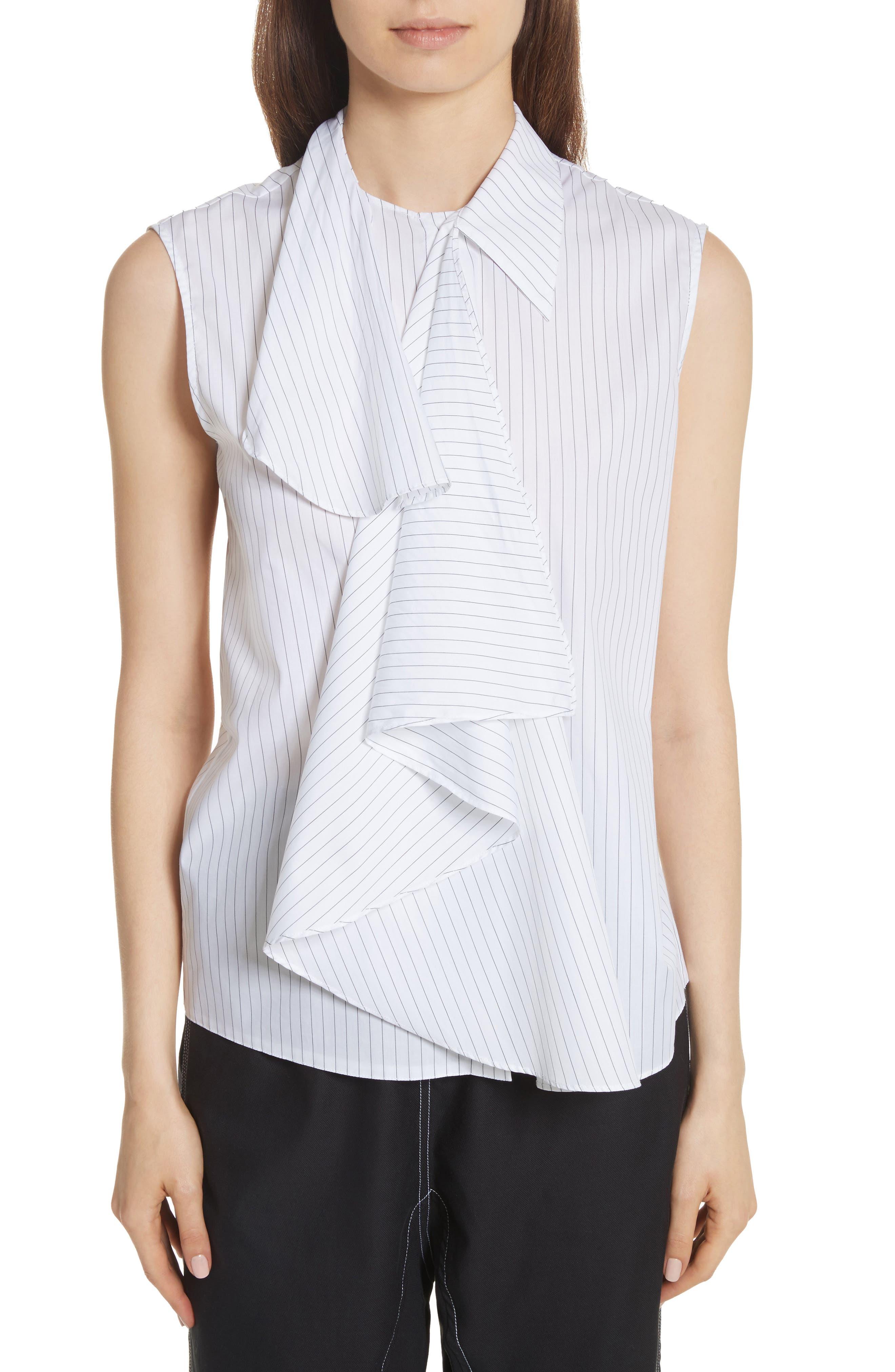 Sleeveless Poplin Top,                         Main,                         color, White/ Black Stripe