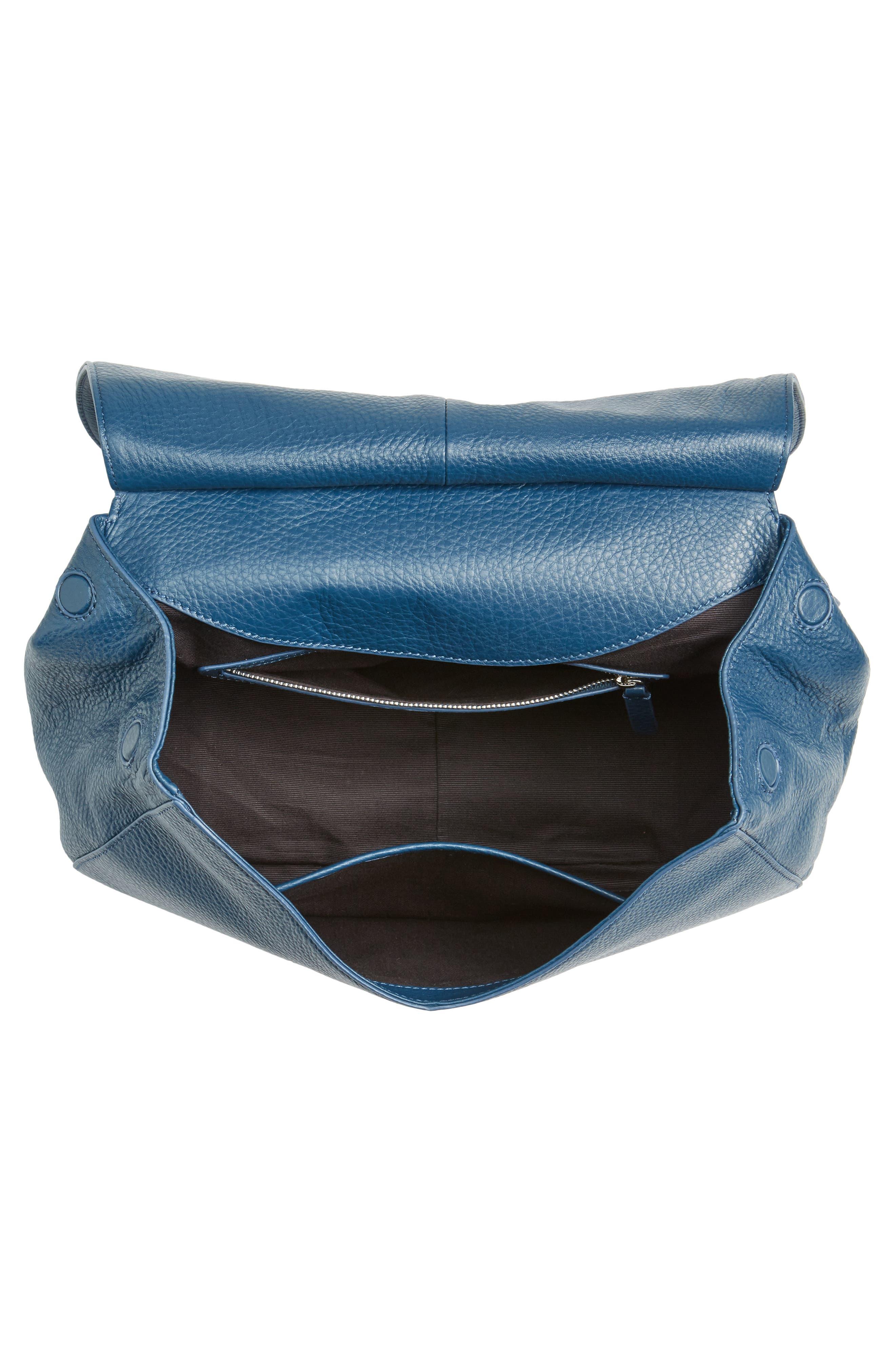 Kate Calfskin Leather Top Handle Satchel,                             Alternate thumbnail 4, color,                             Navy