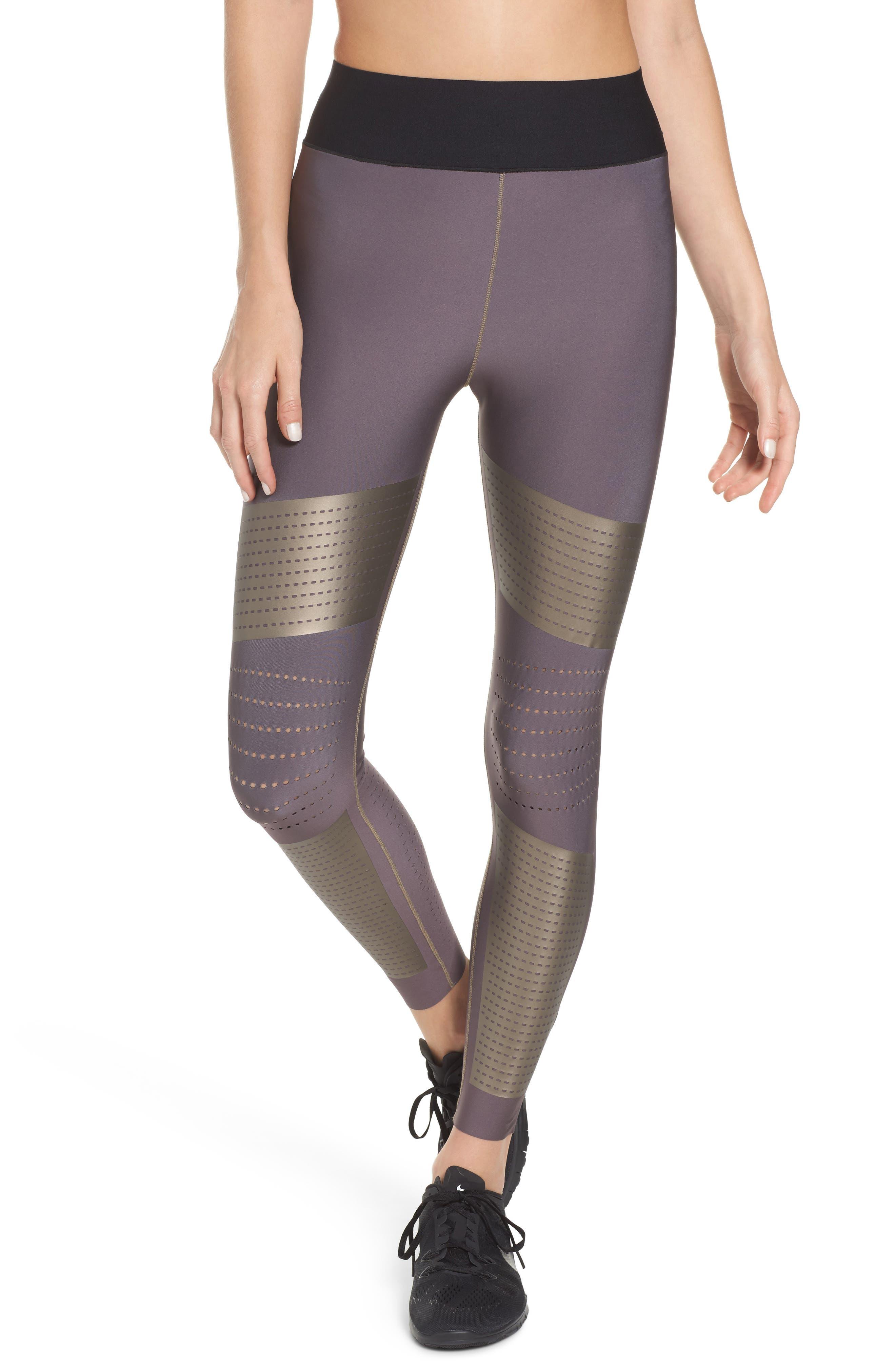 Ultra Silk AK17 High Waist Leggings,                         Main,                         color, Taupe/ Taupe Satin