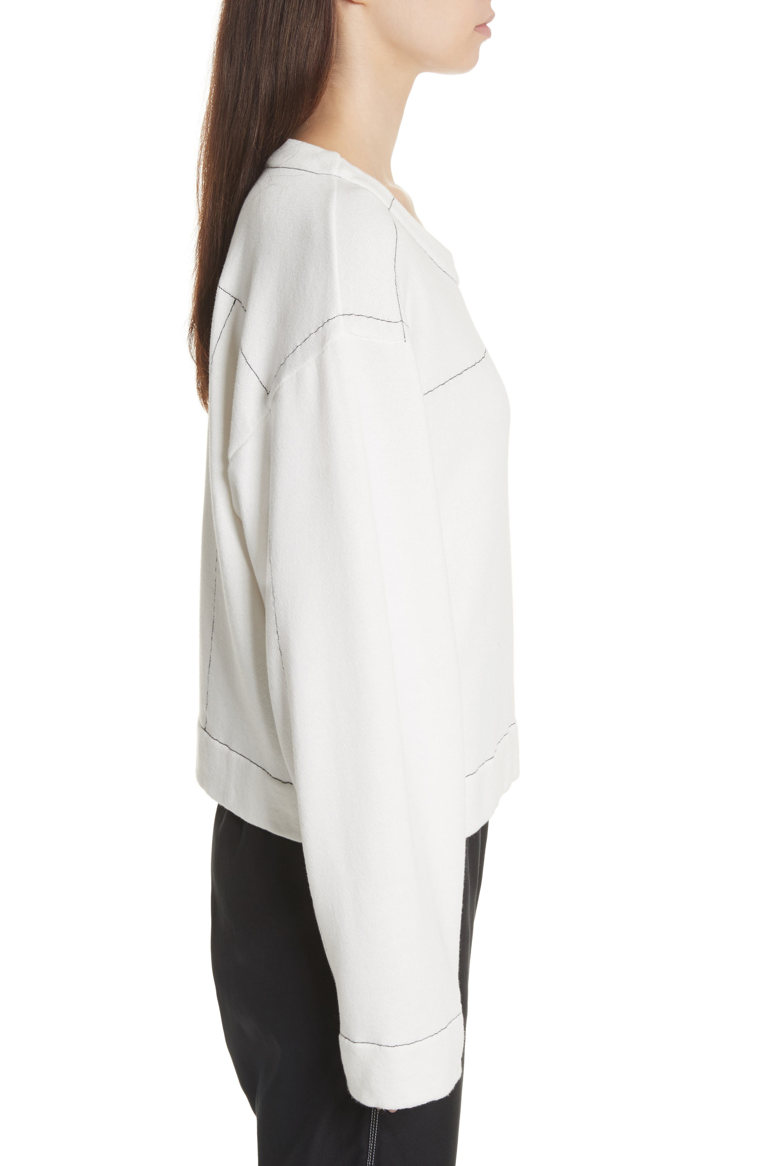 Topstitch Sweater,                             Alternate thumbnail 3, color,                             Off White