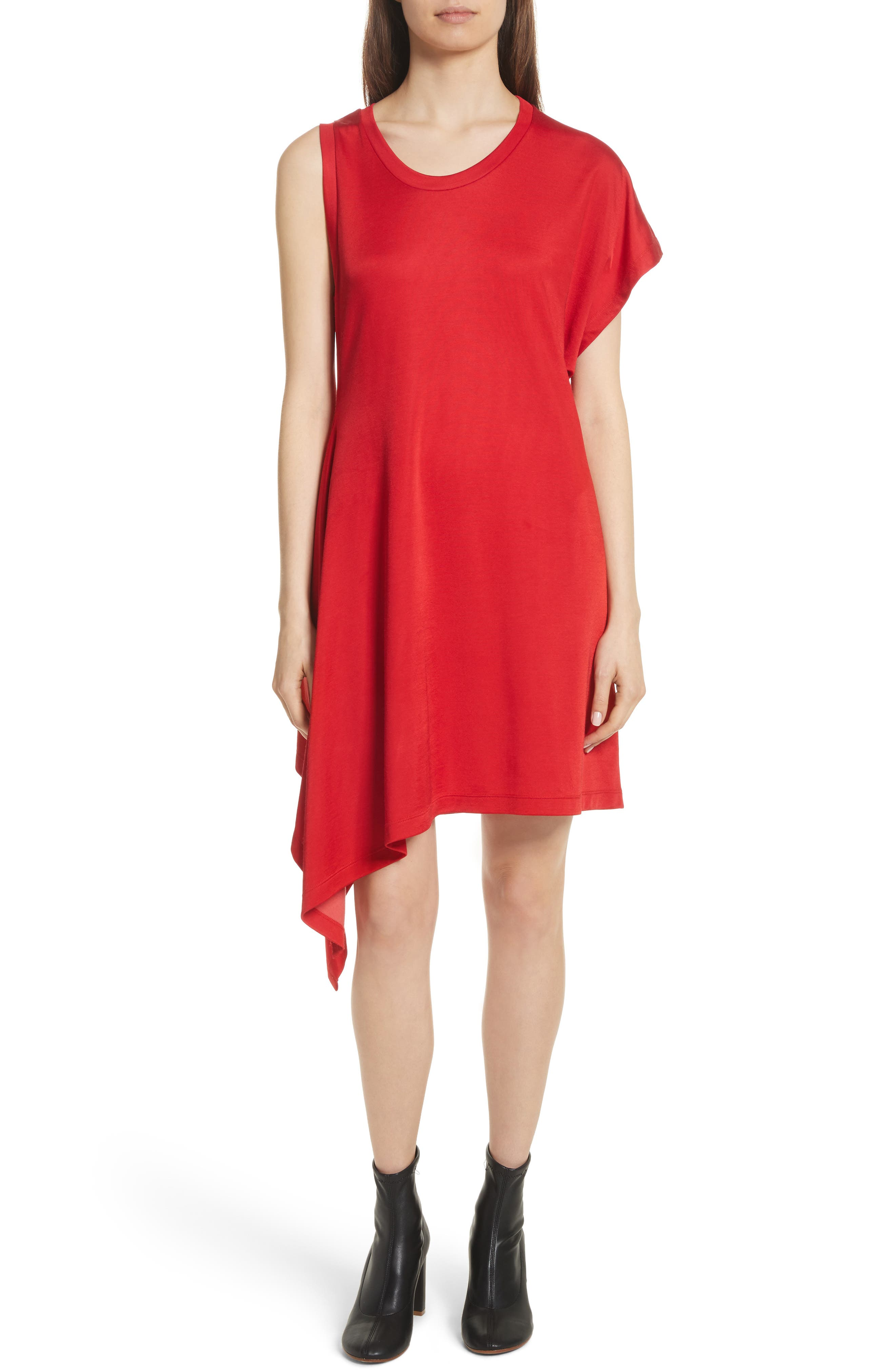 Sporty Asymmetrical Jersey Dress,                             Main thumbnail 1, color,                             Red