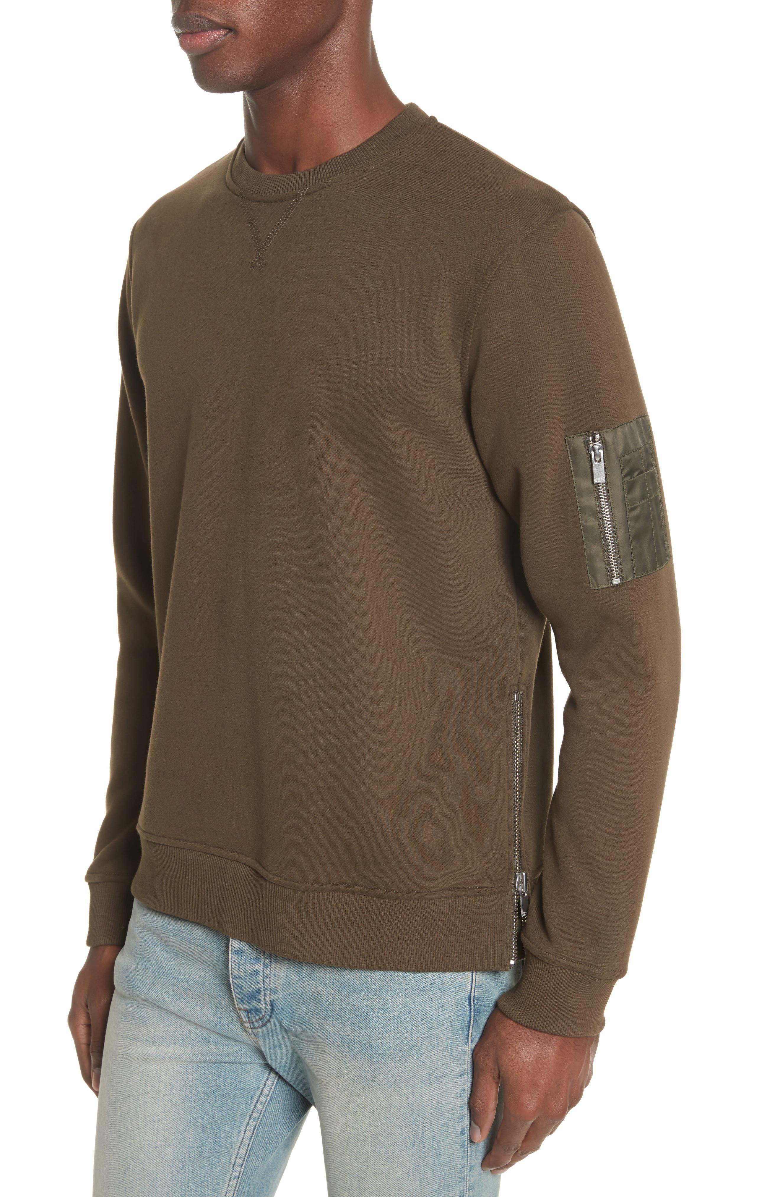 Crewneck Cotton Sweater,                             Alternate thumbnail 3, color,                             Khaki