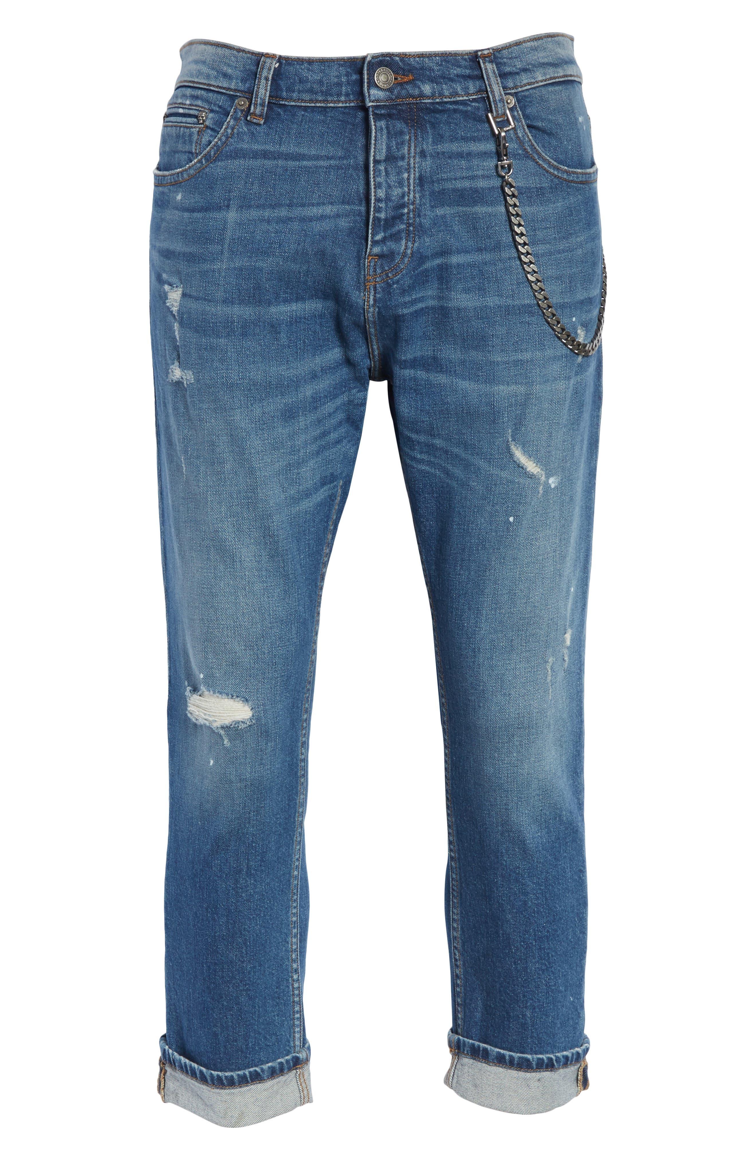 Cropped Jeans,                             Alternate thumbnail 6, color,                             Blue