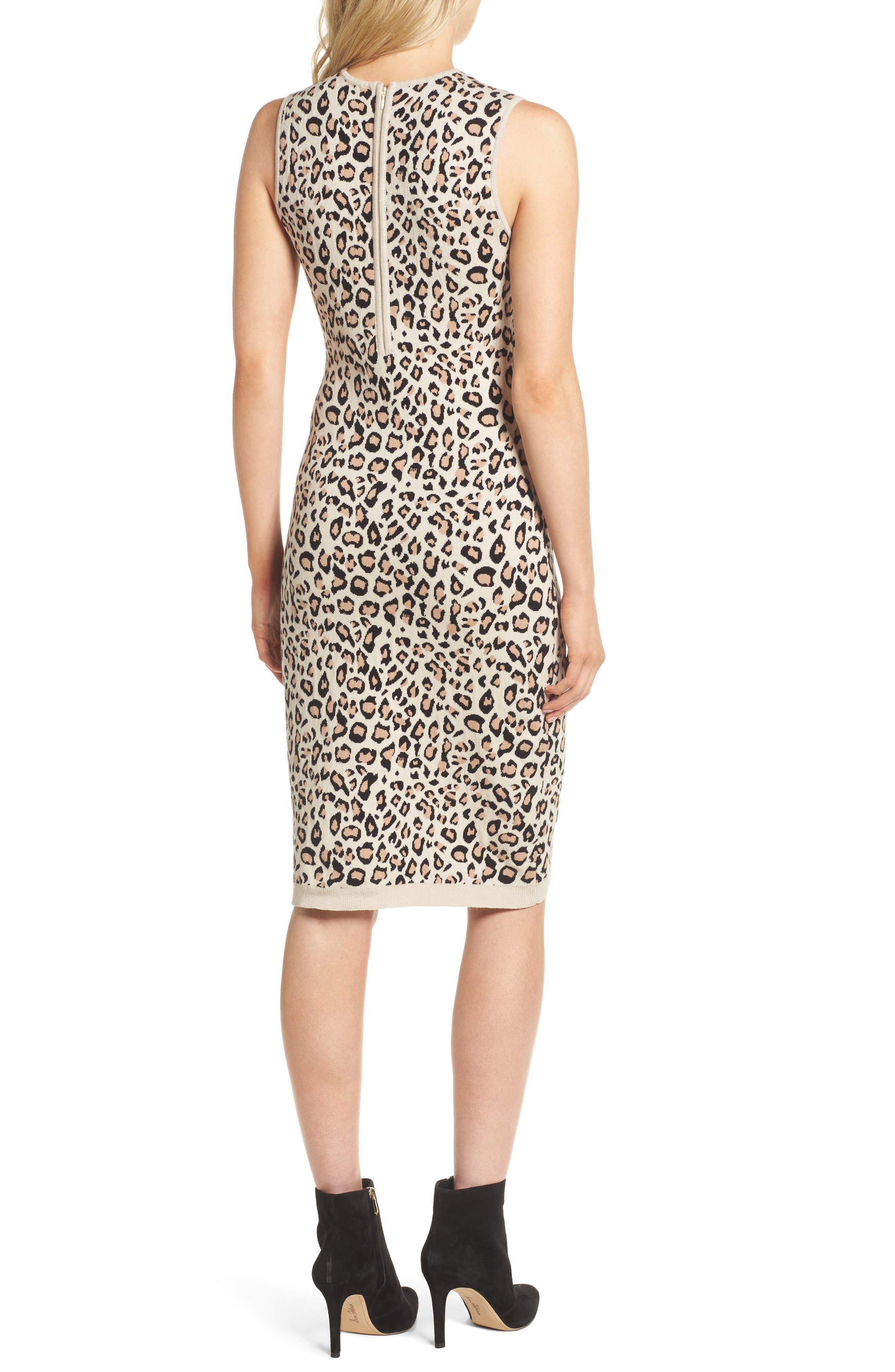 Sutter Body-Con Dress,                             Alternate thumbnail 2, color,                             Leopard