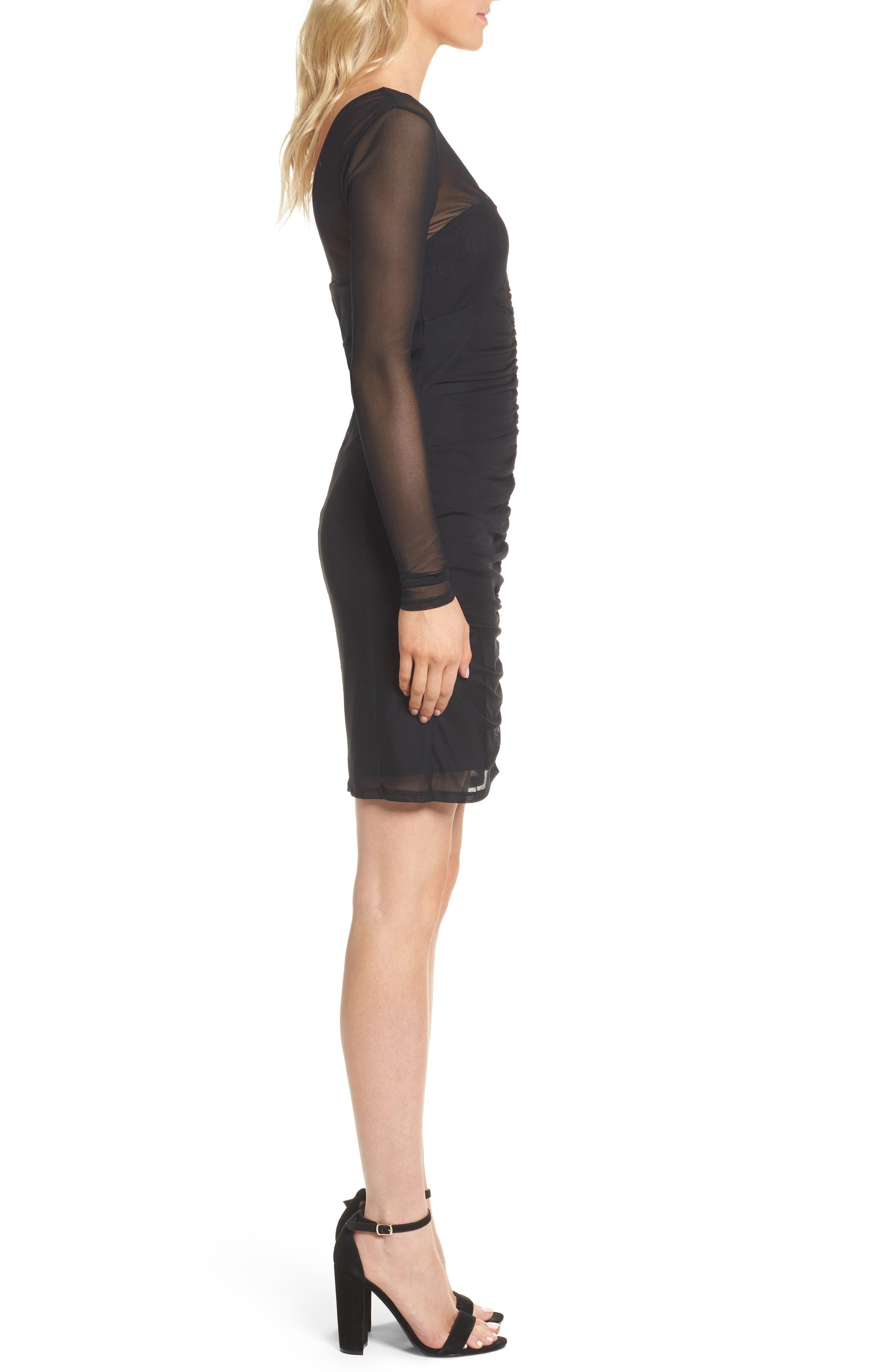Body-Con Sheath Dress,                             Alternate thumbnail 3, color,                             Black