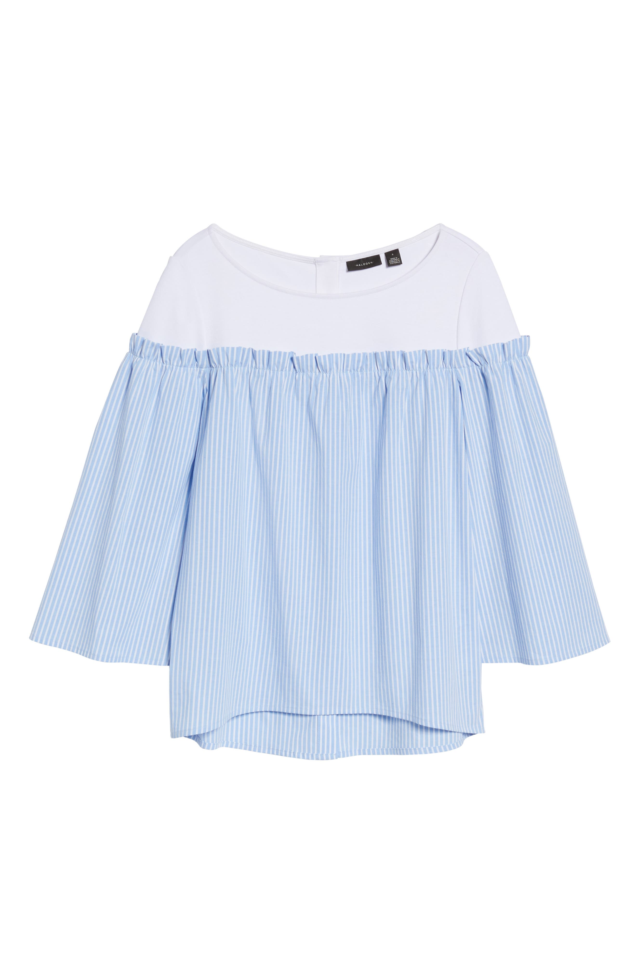 Ruffle Detail Mix Media High/Low Shirt,                             Alternate thumbnail 6, color,                             Blue- White Stripe