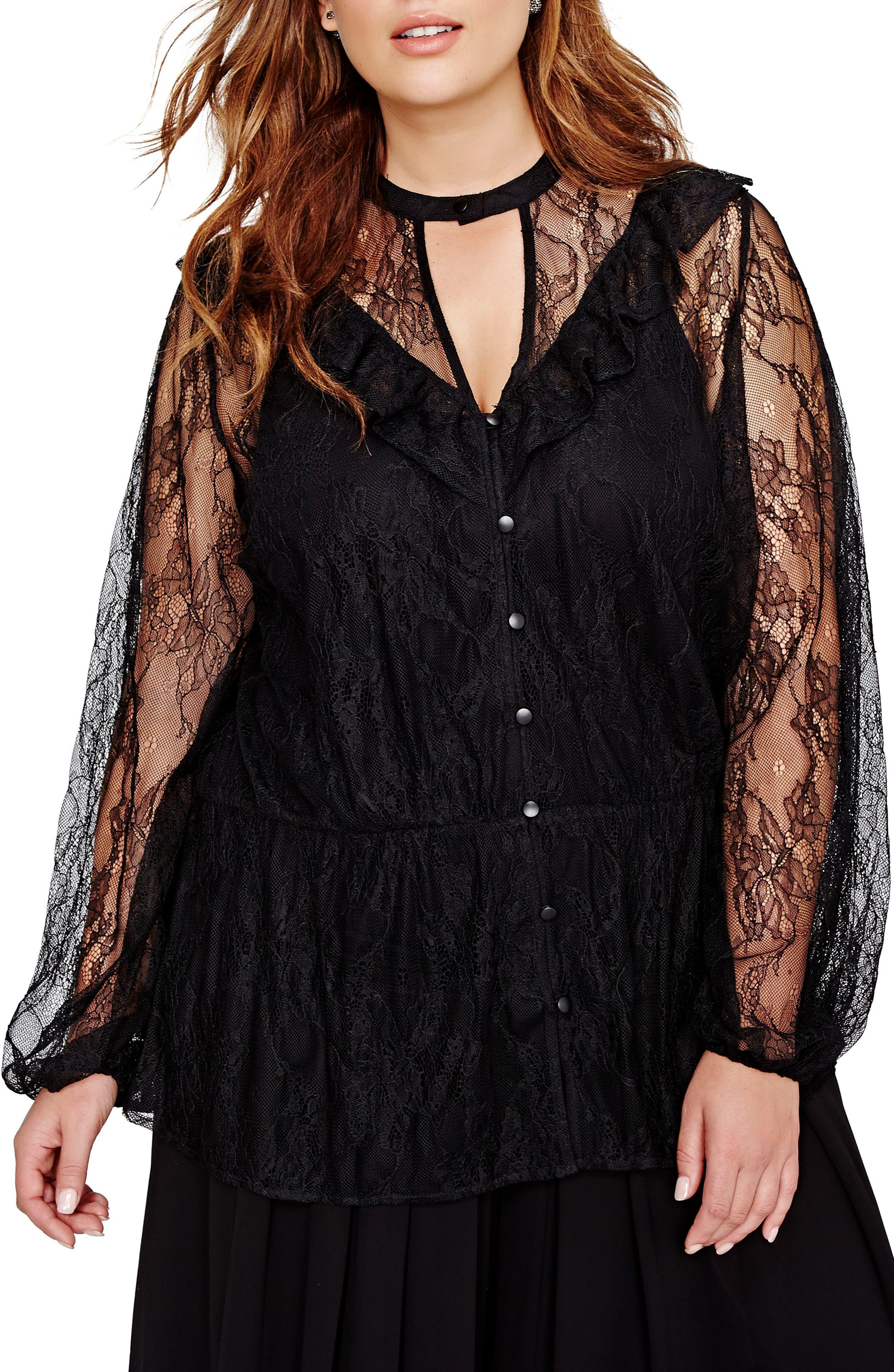 Main Image - MICHEL STUDIO Ruffle & Lace Tunic (Plus Size)