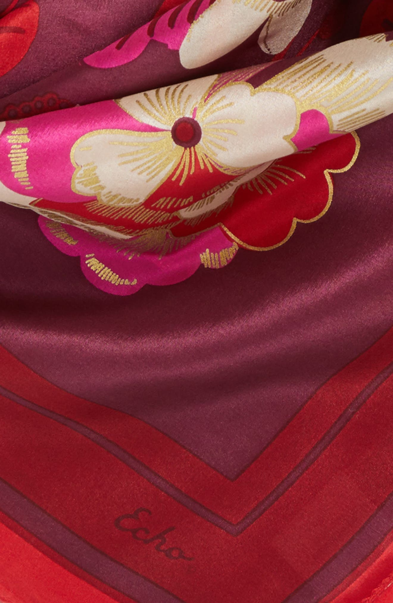 Bloomsbury Square Silk Scarf,                             Alternate thumbnail 4, color,                             Currant