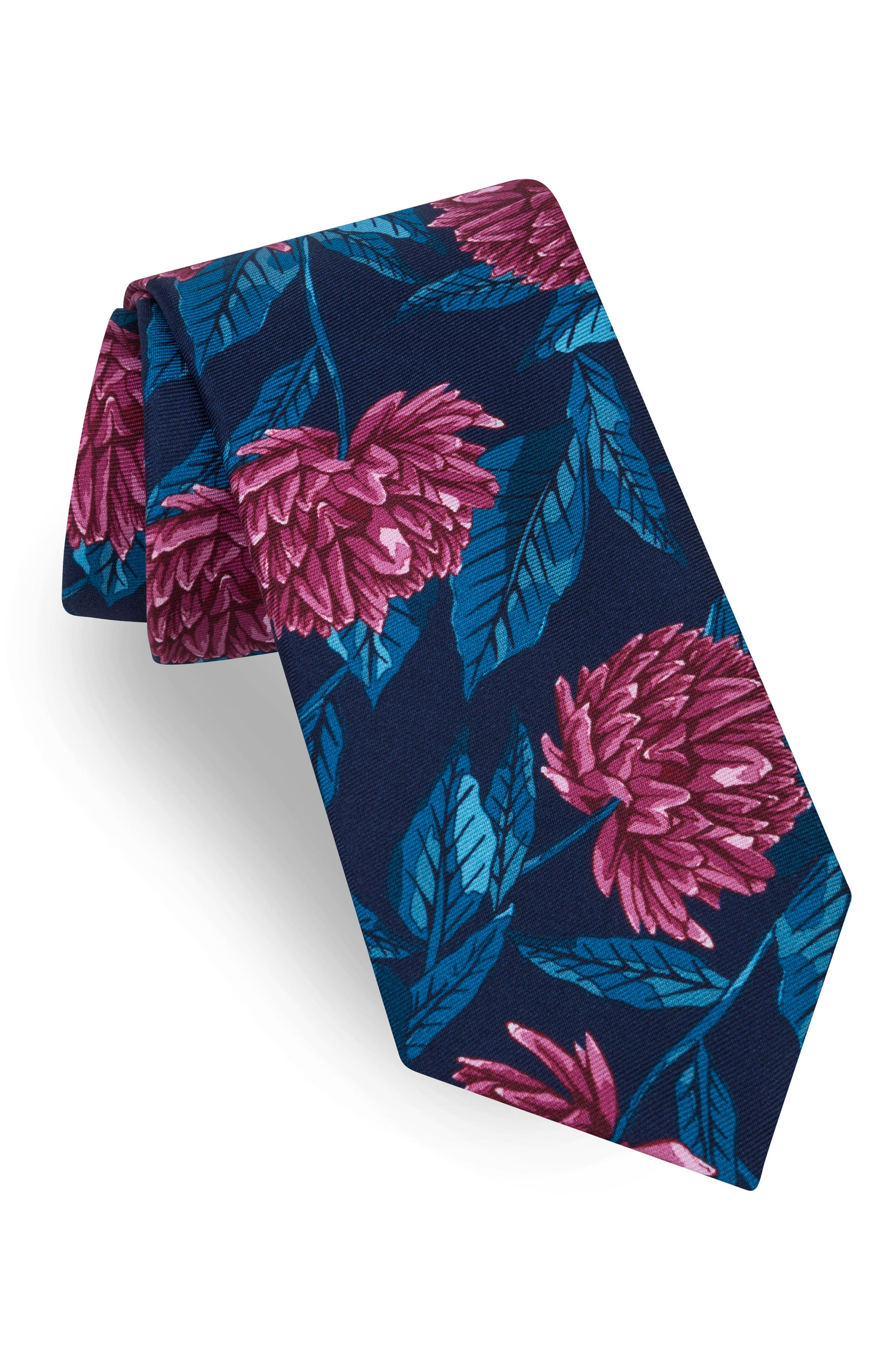Oversize Flower Tie,                         Main,                         color, Red/ Blue