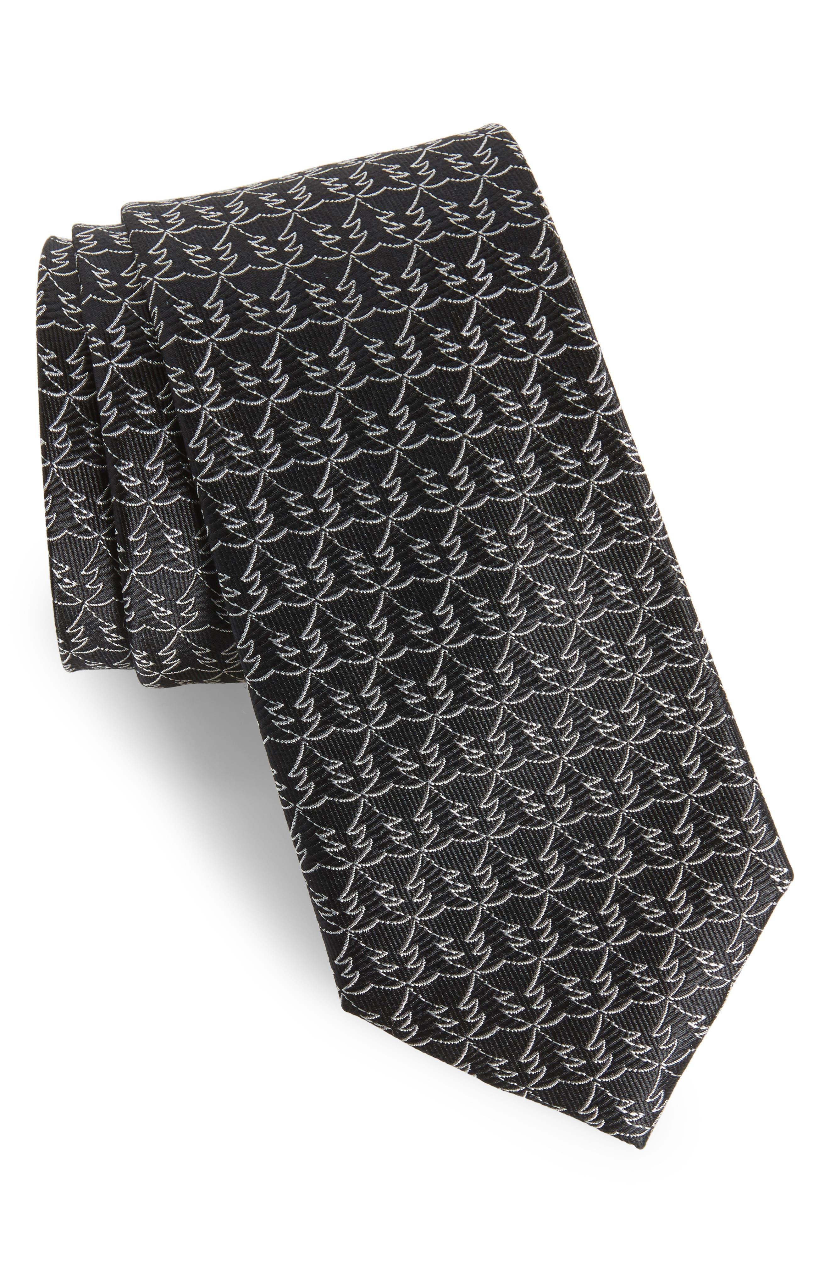Christmas Tree Silk Tie,                         Main,                         color, Black