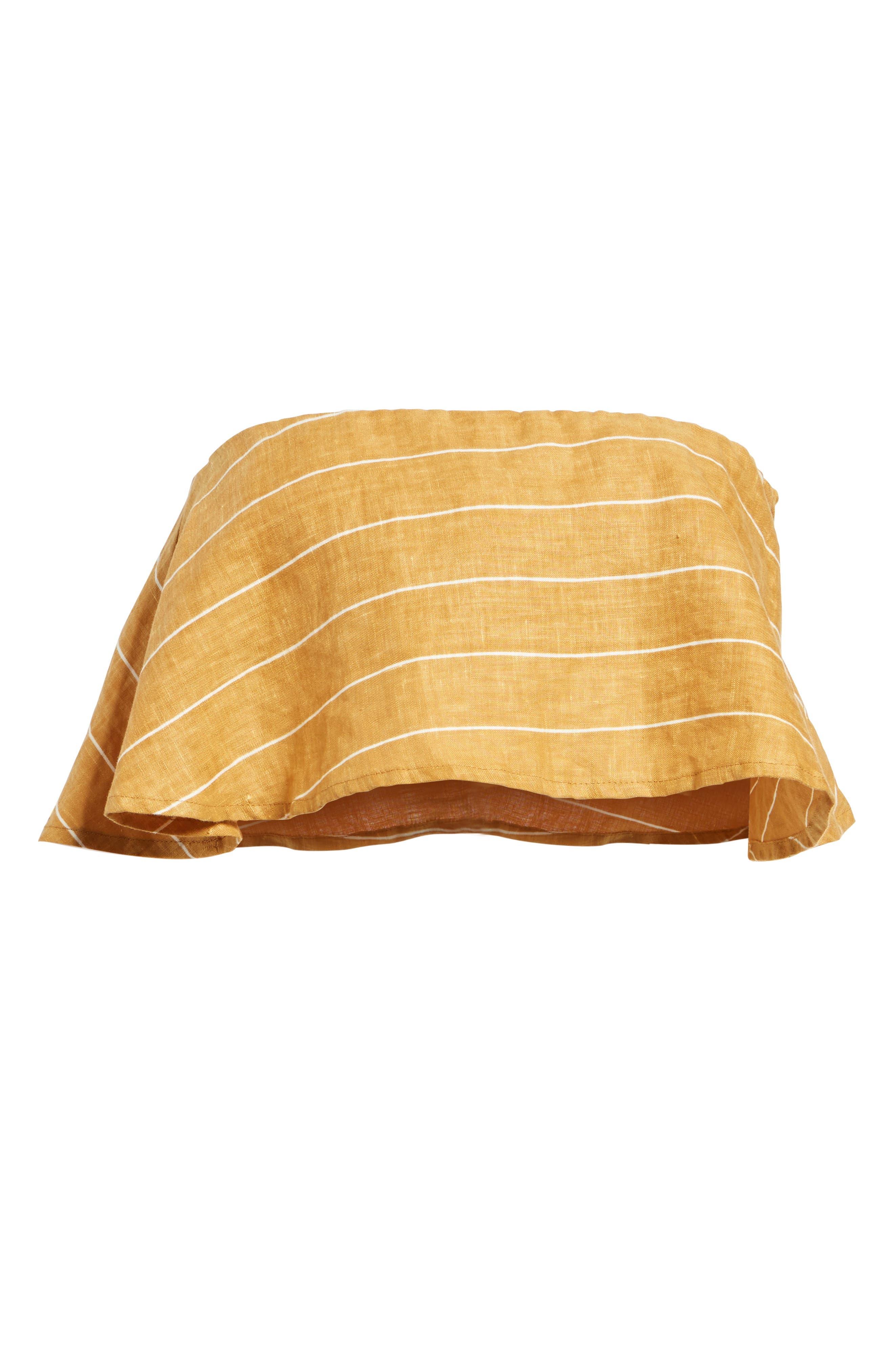Solana Stripe Strapless Linen Crop Top,                             Alternate thumbnail 7, color,                             Copenhagen Stripe