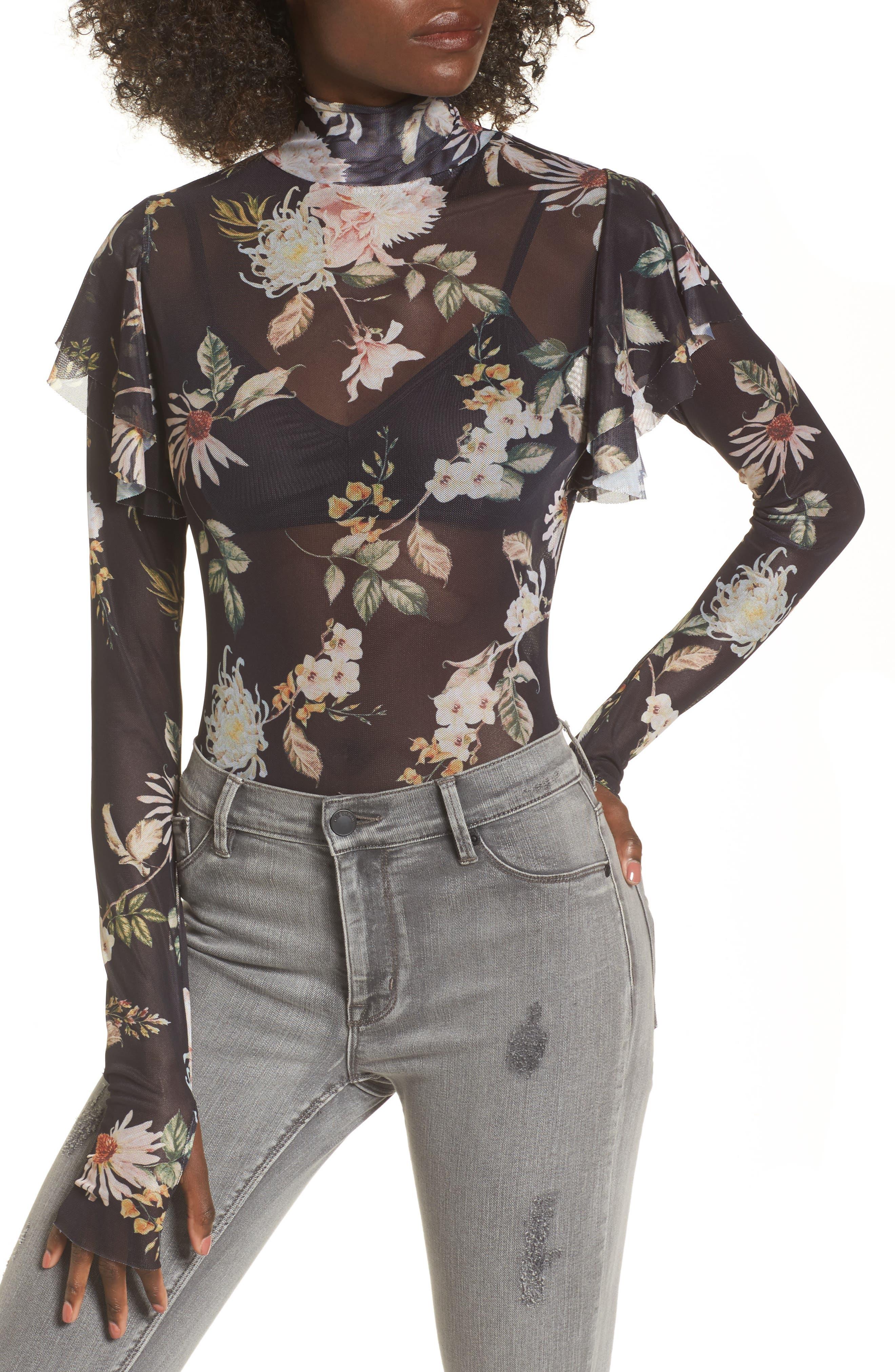 Esme Ruffle Mesh Bodysuit,                         Main,                         color, Noir Floral