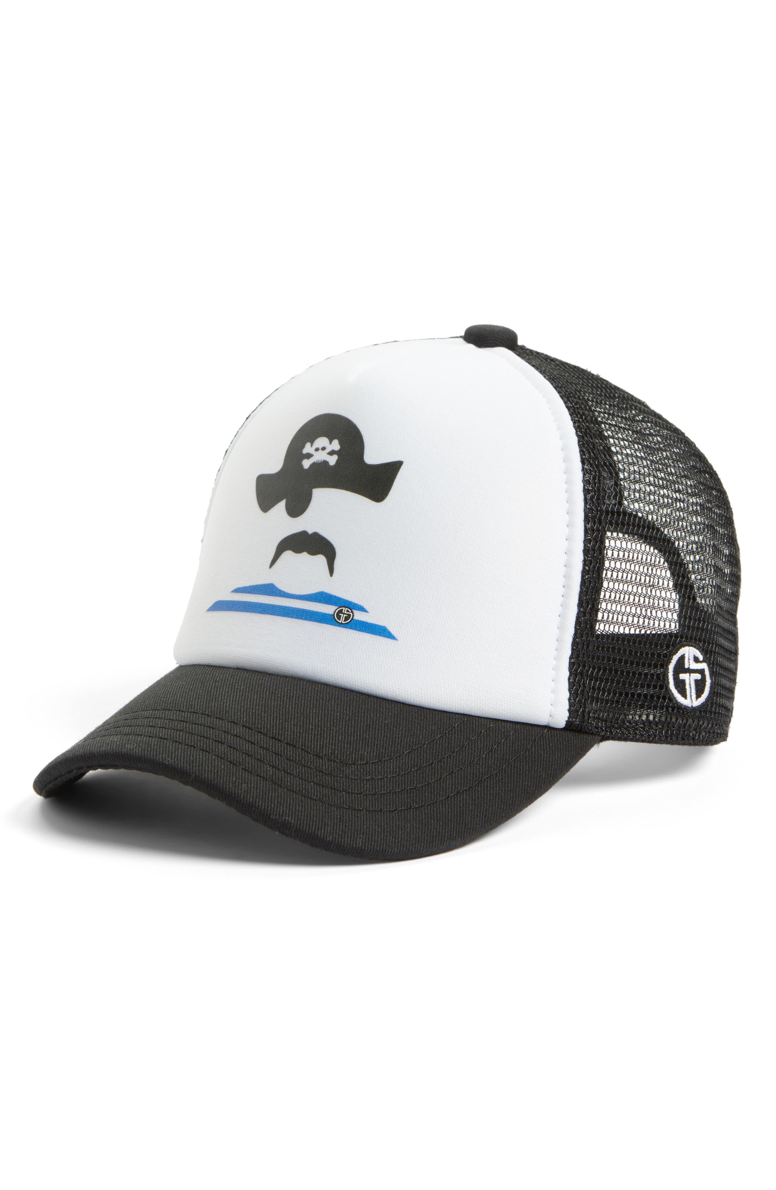 Pirate Trucker Hat,                             Main thumbnail 1, color,                             Black/ White Pirate