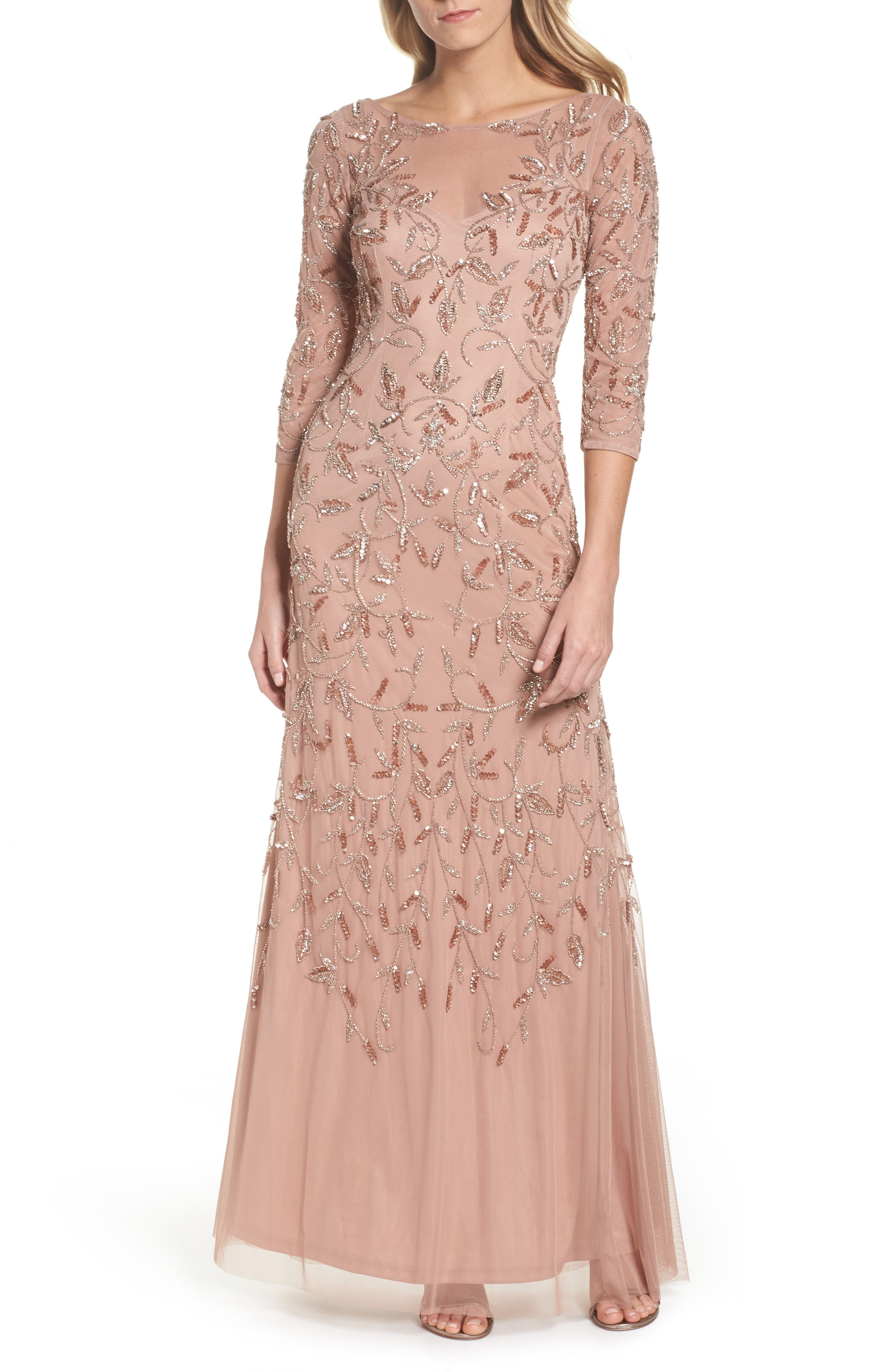 Beaded A-Line Gown,                             Main thumbnail 1, color,                             Rose Gold