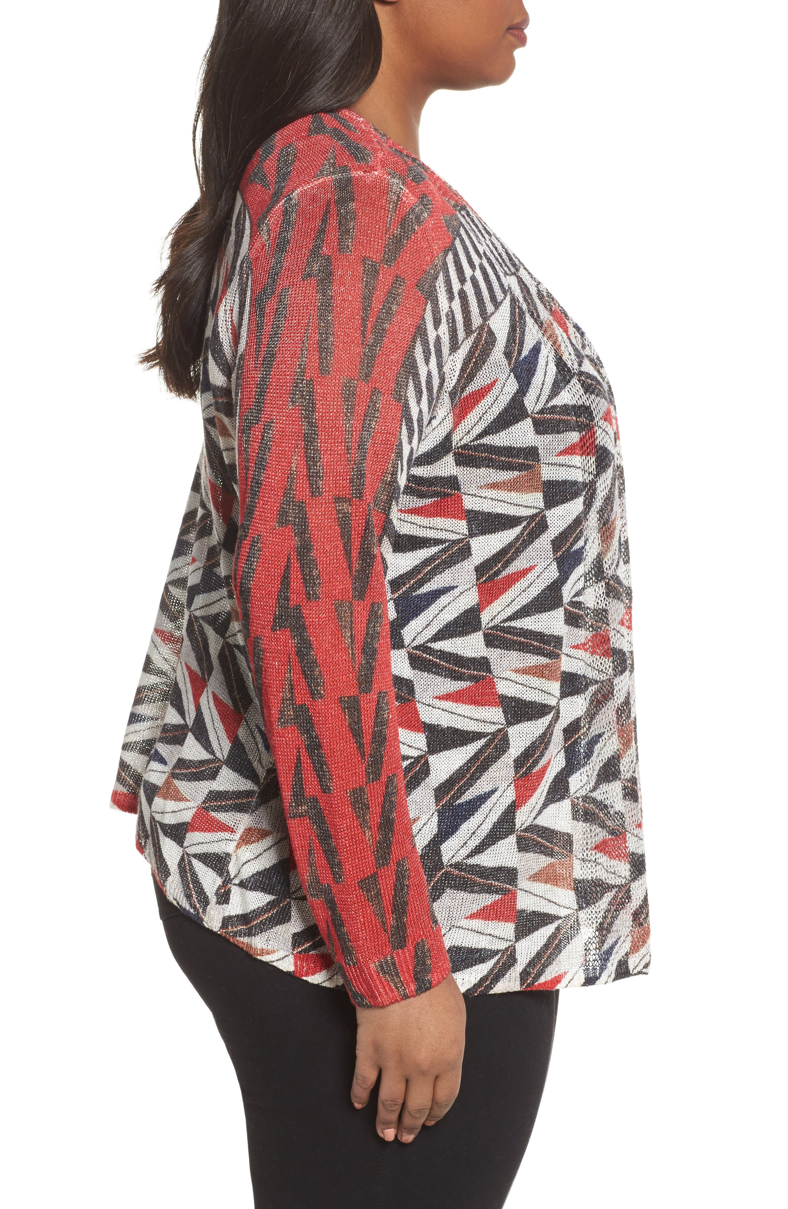 Zigzag Open Front Cardigan,                             Alternate thumbnail 3, color,                             Multi