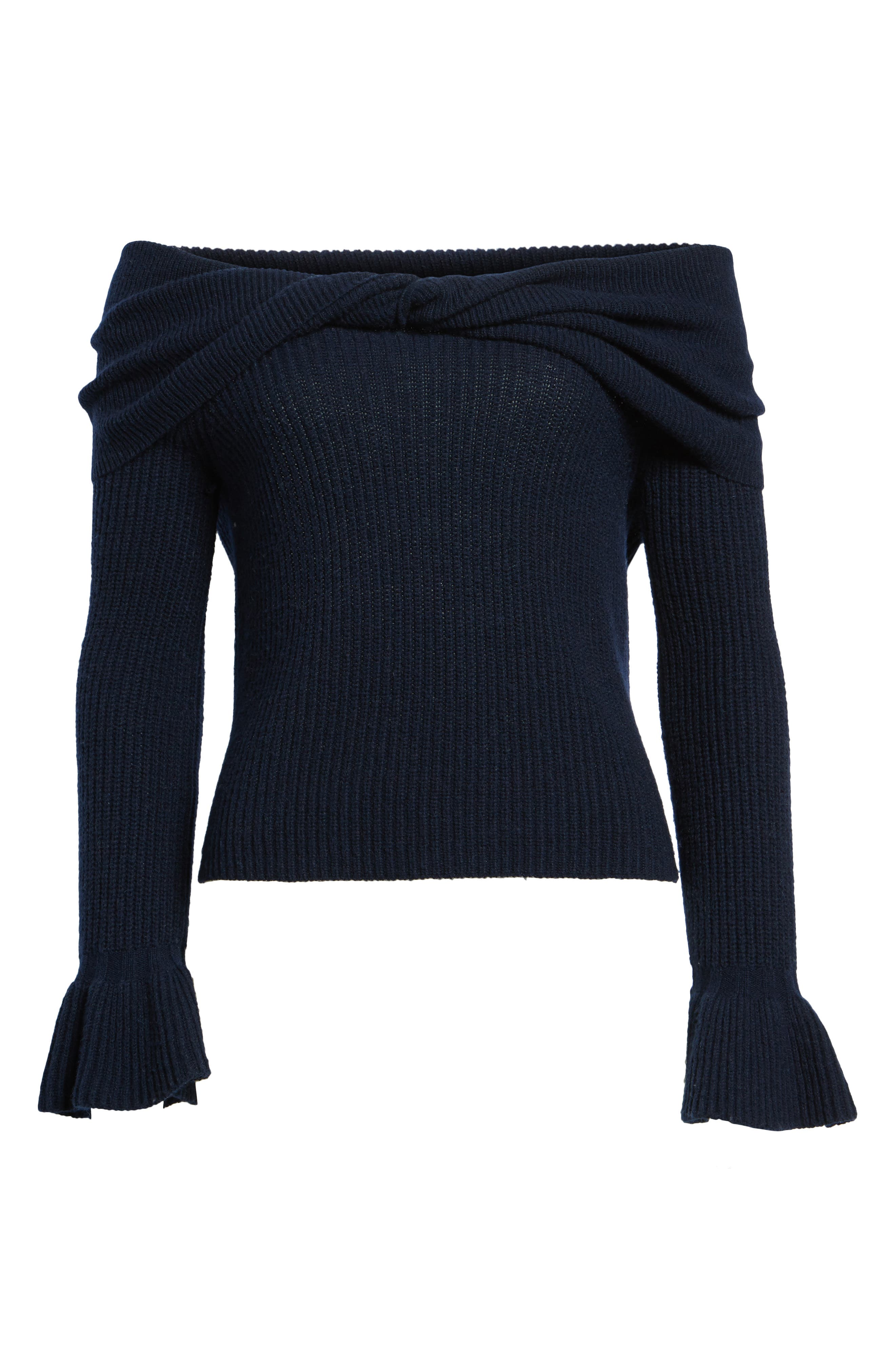 Off the Shoulder Sweater,                             Alternate thumbnail 6, color,                             Navy