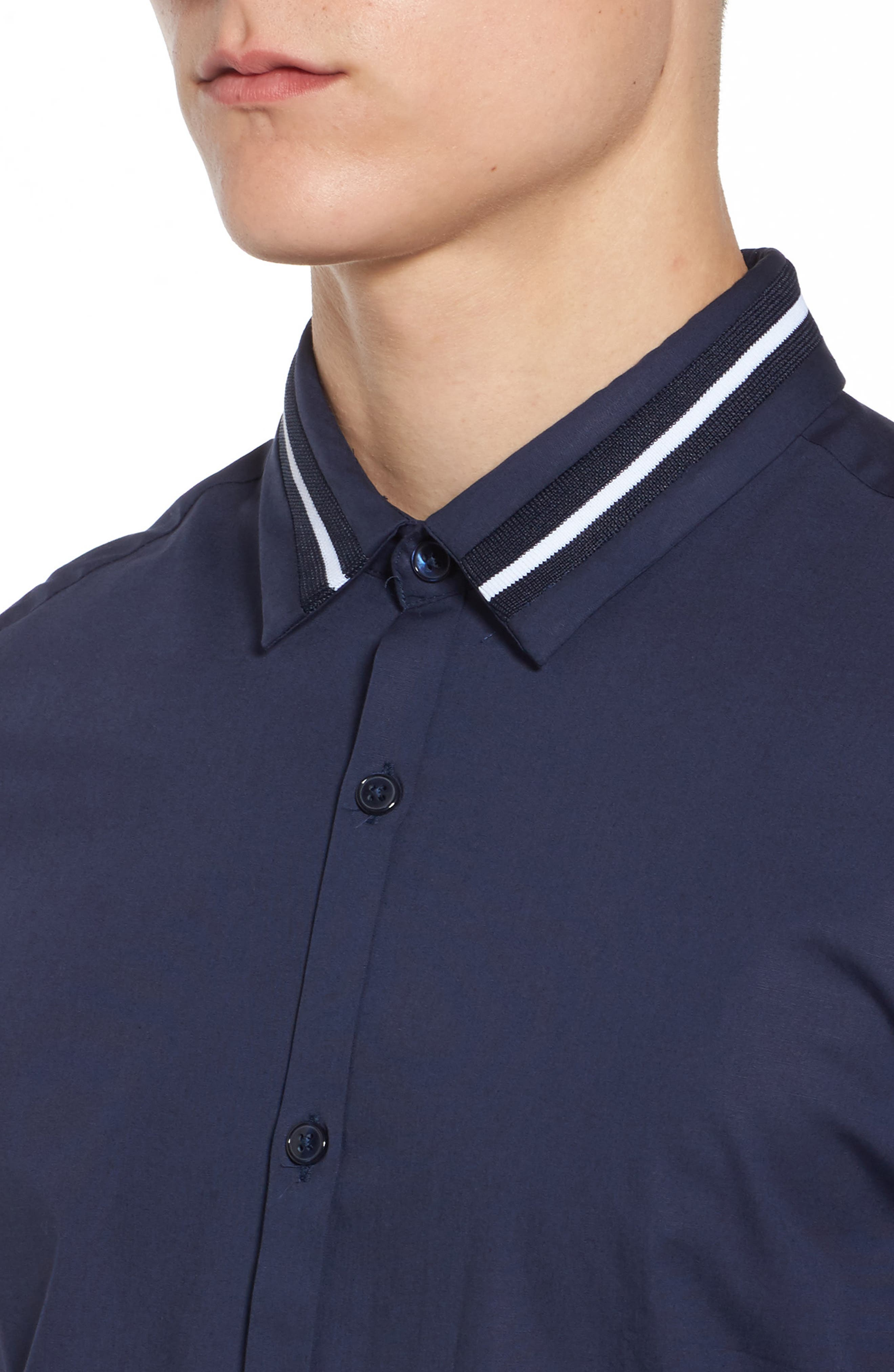 Alternate Image 4  - Topman Muscle Fit Stripe Tipped Shirt
