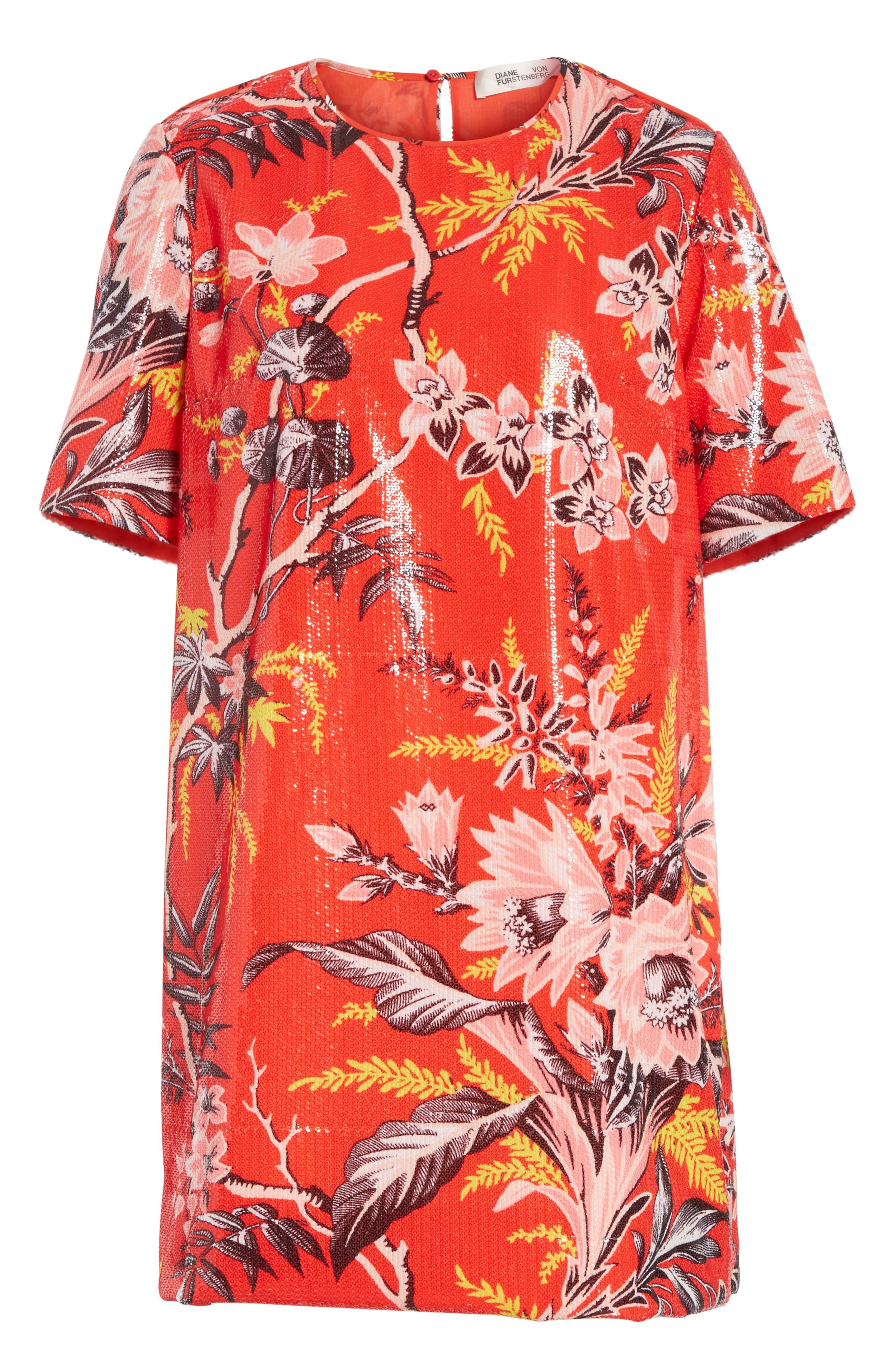 Diane von Furstenberg Fluid Sequin Minidress,                             Alternate thumbnail 6, color,                             Avalon Poppy