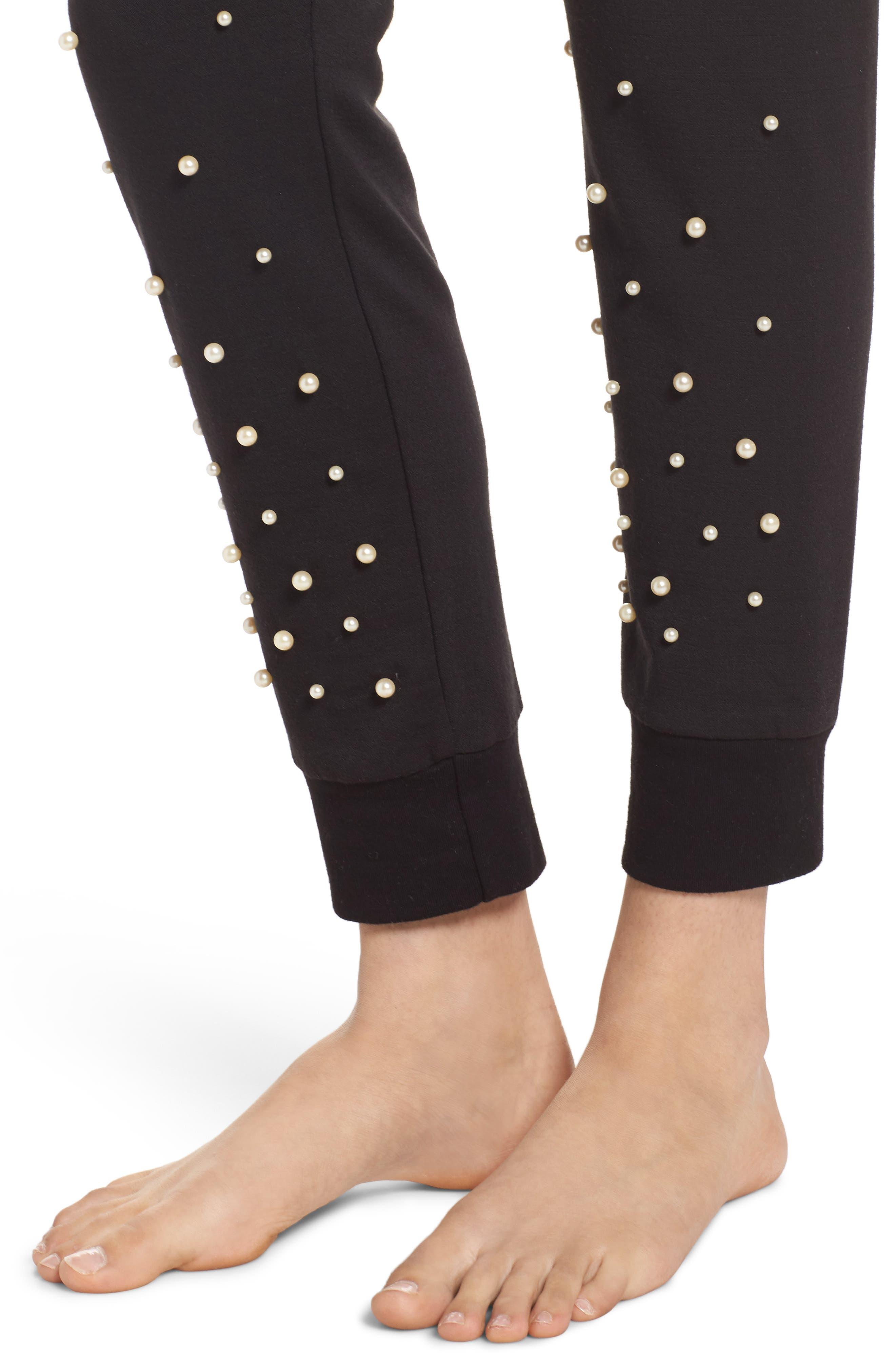 Alternate Image 5  - Michael Lauren Price Imitation Pearl Embellished Lounge Pants