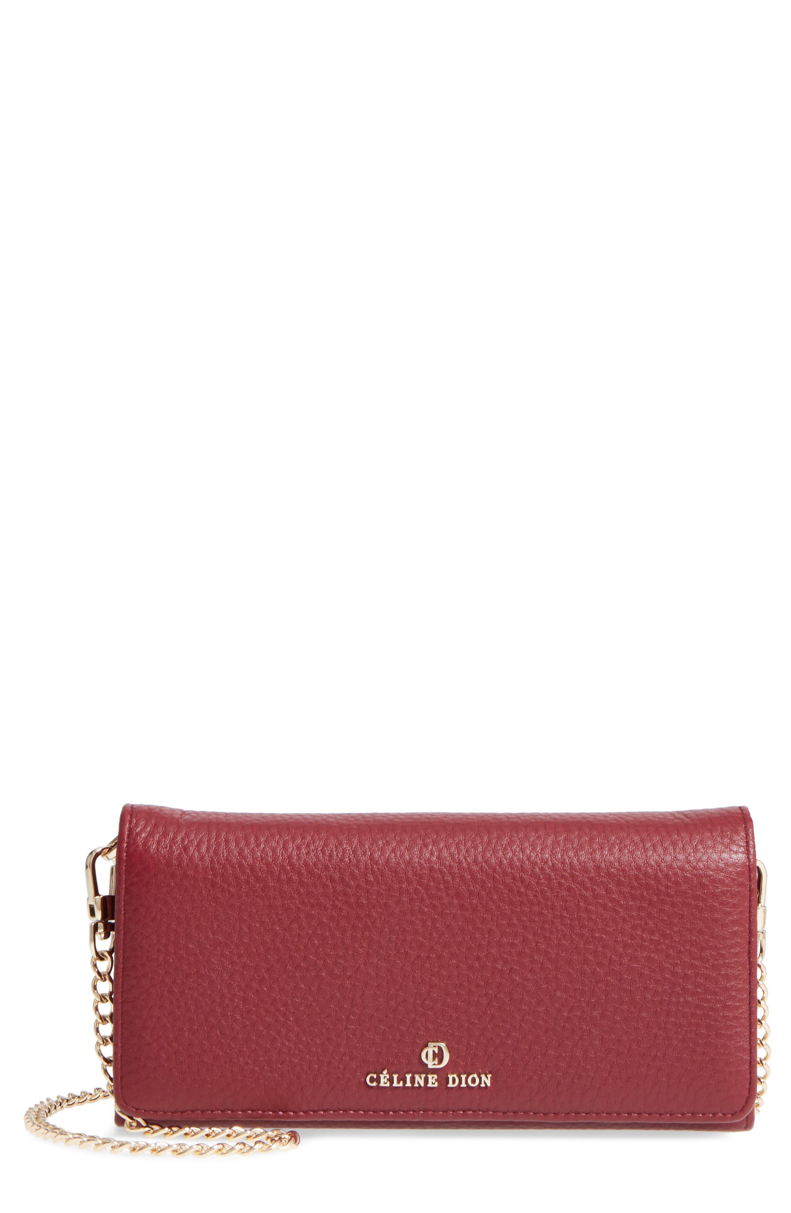 Céline Dion Adagio Leather Crossbody Wallet,                         Main,                         color, Dark Red