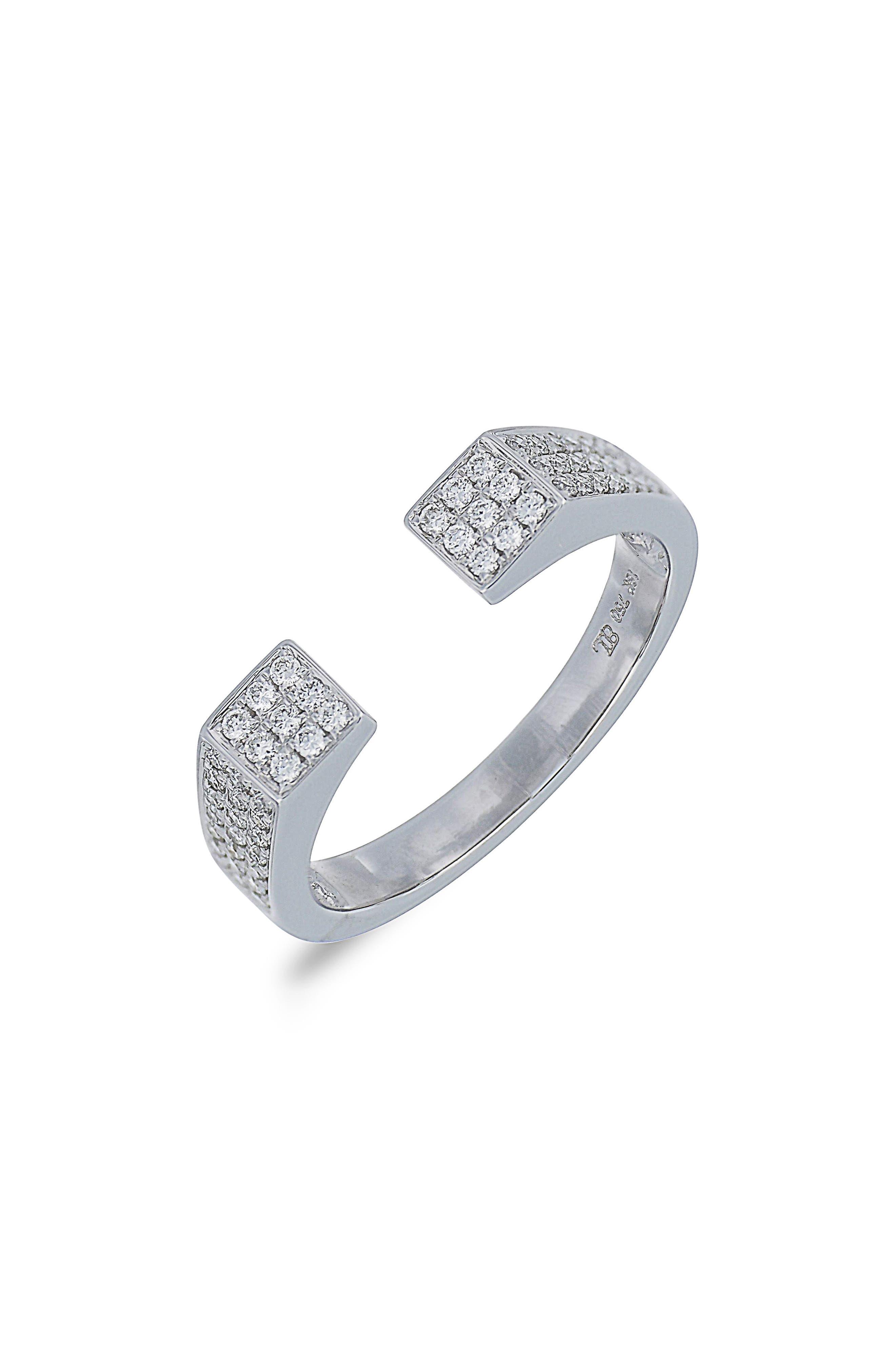 Openwork Diamond Ring,                         Main,                         color, White Gold