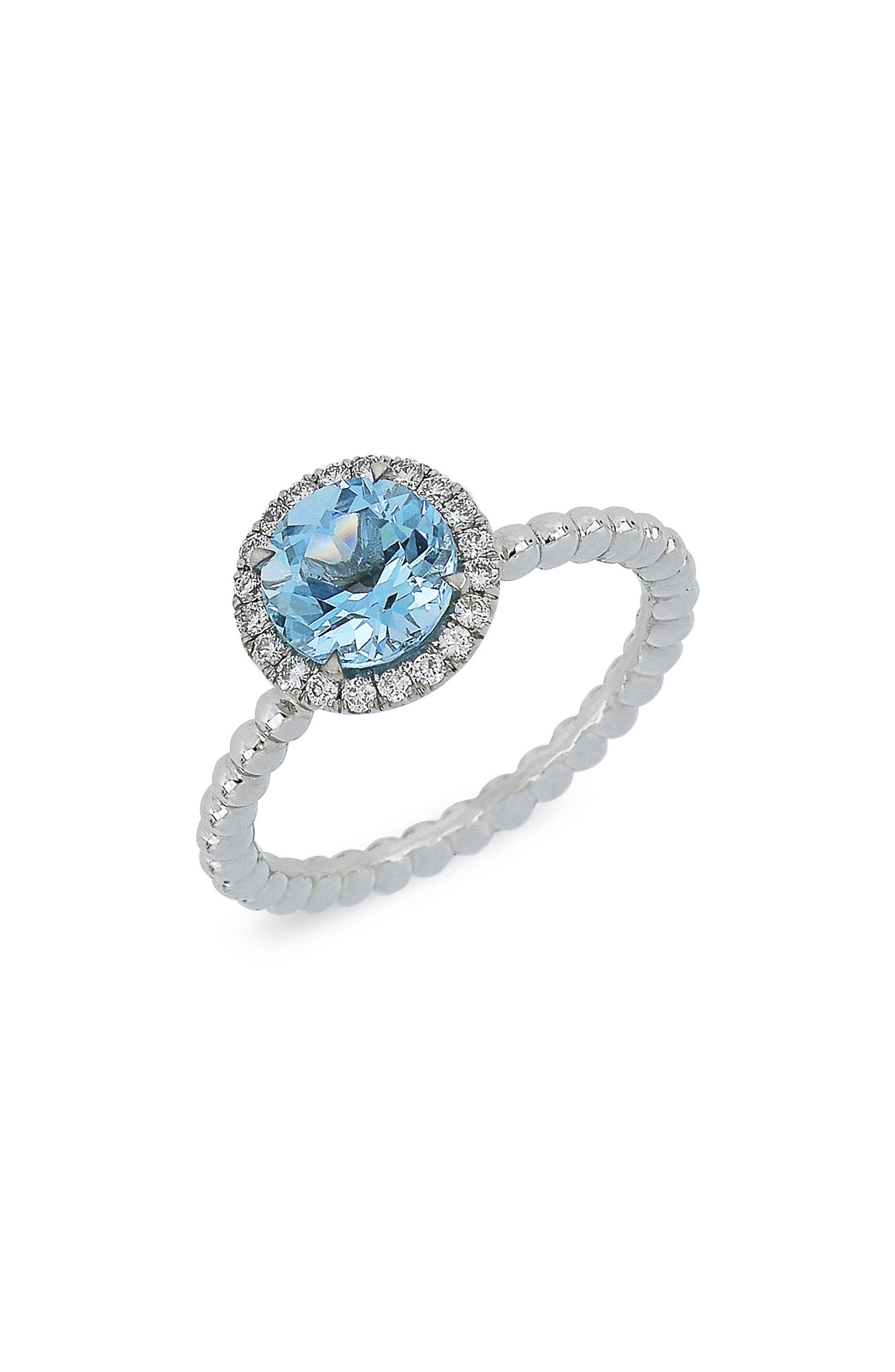 Round Aquamarine & Diamond Ring,                         Main,                         color, White Gold