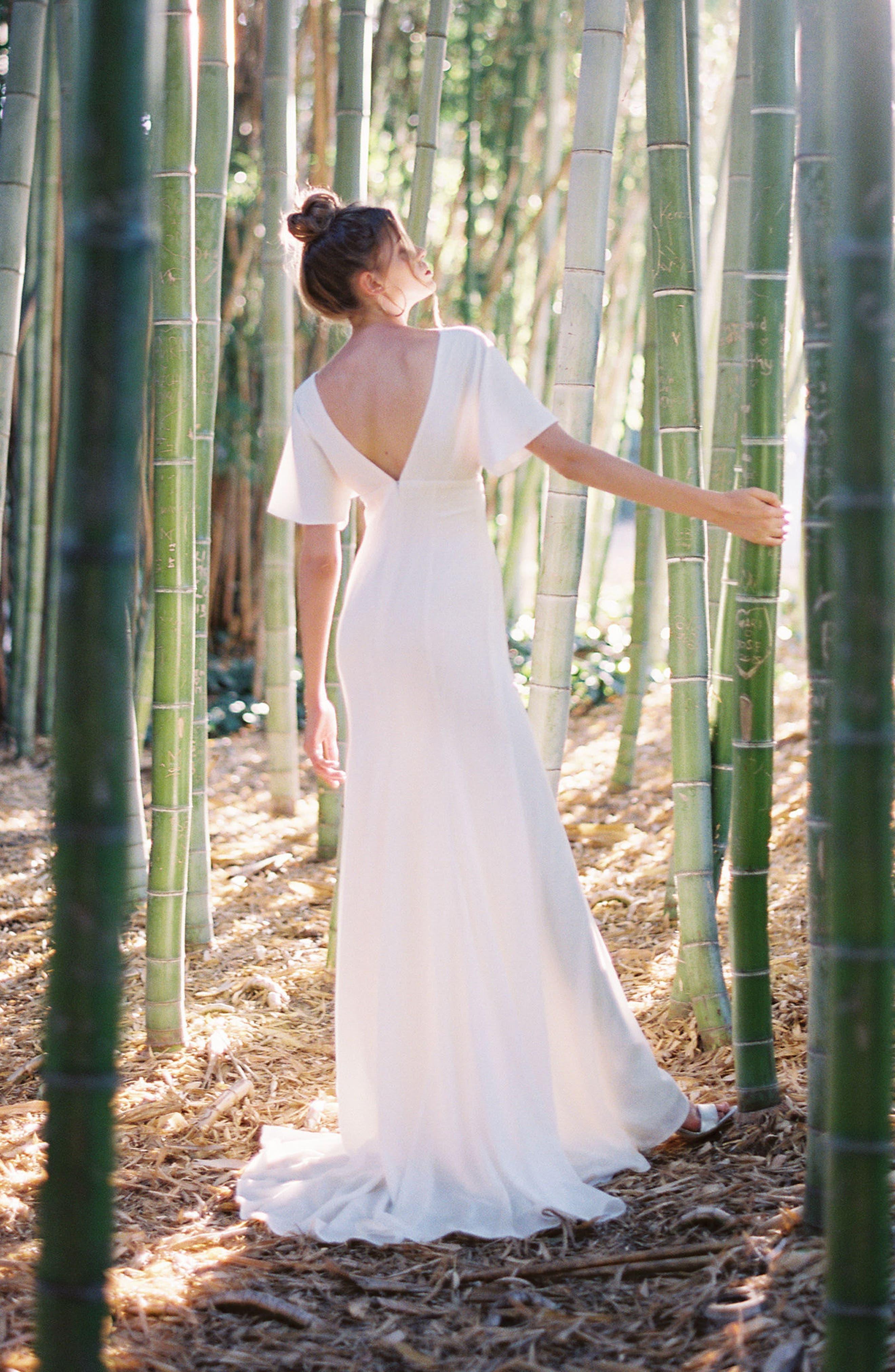 Empire Waist Crepe Gown,                             Alternate thumbnail 9, color,                             White