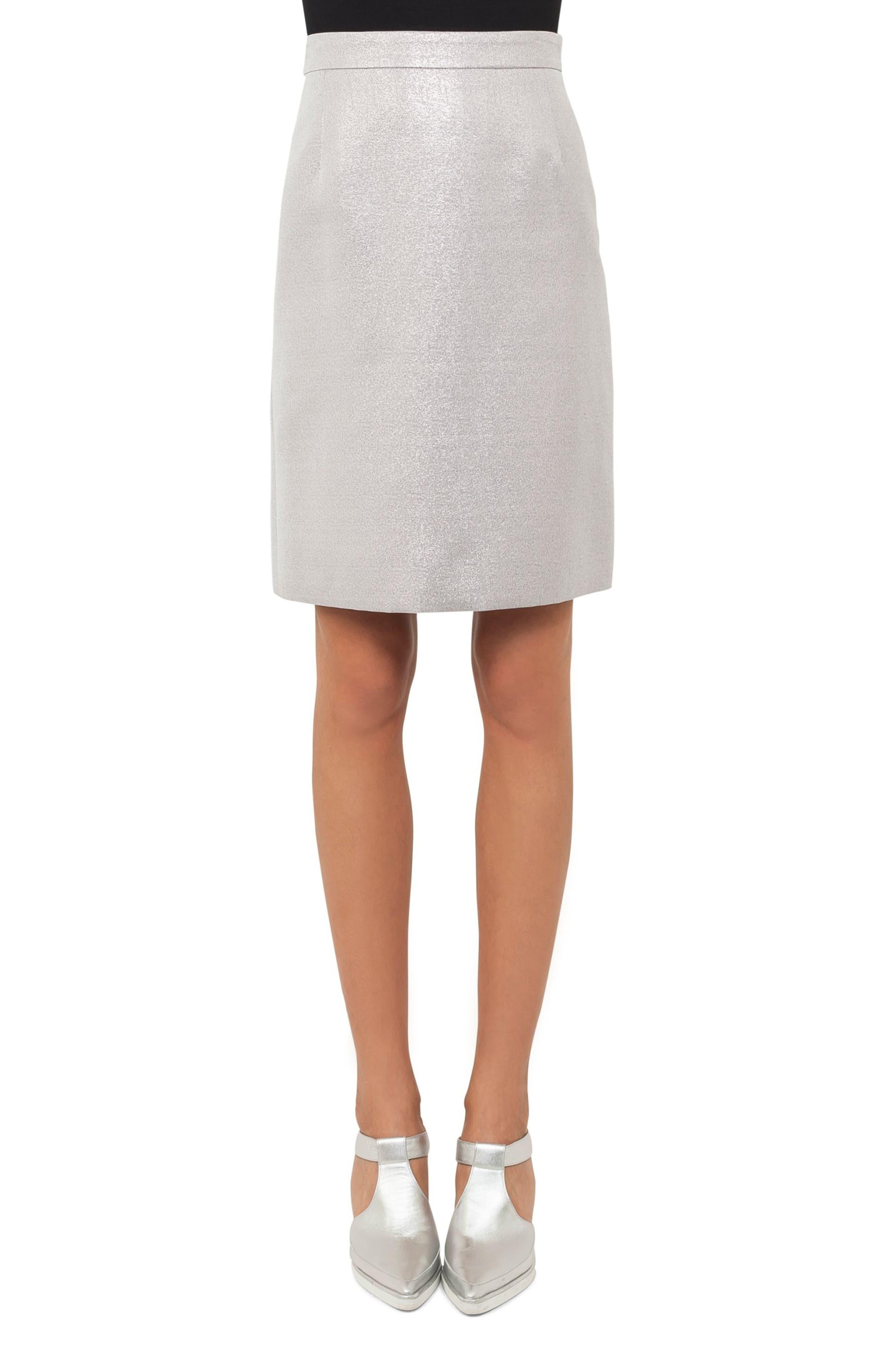 Main Image - Akris punto Metallic A-Line Skirt