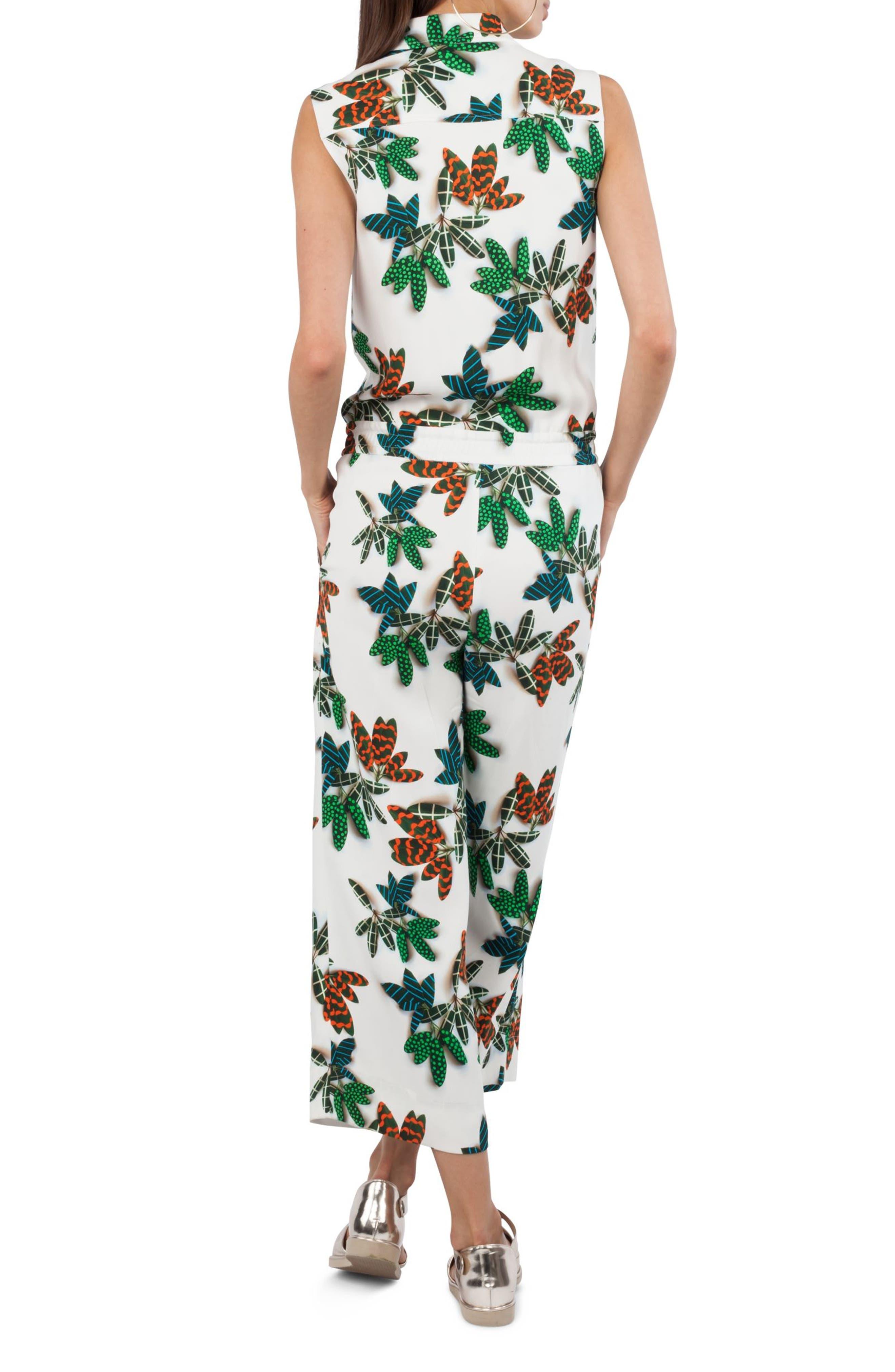 Tropical Print Jumpsuit,                             Alternate thumbnail 2, color,                             Cream Multi