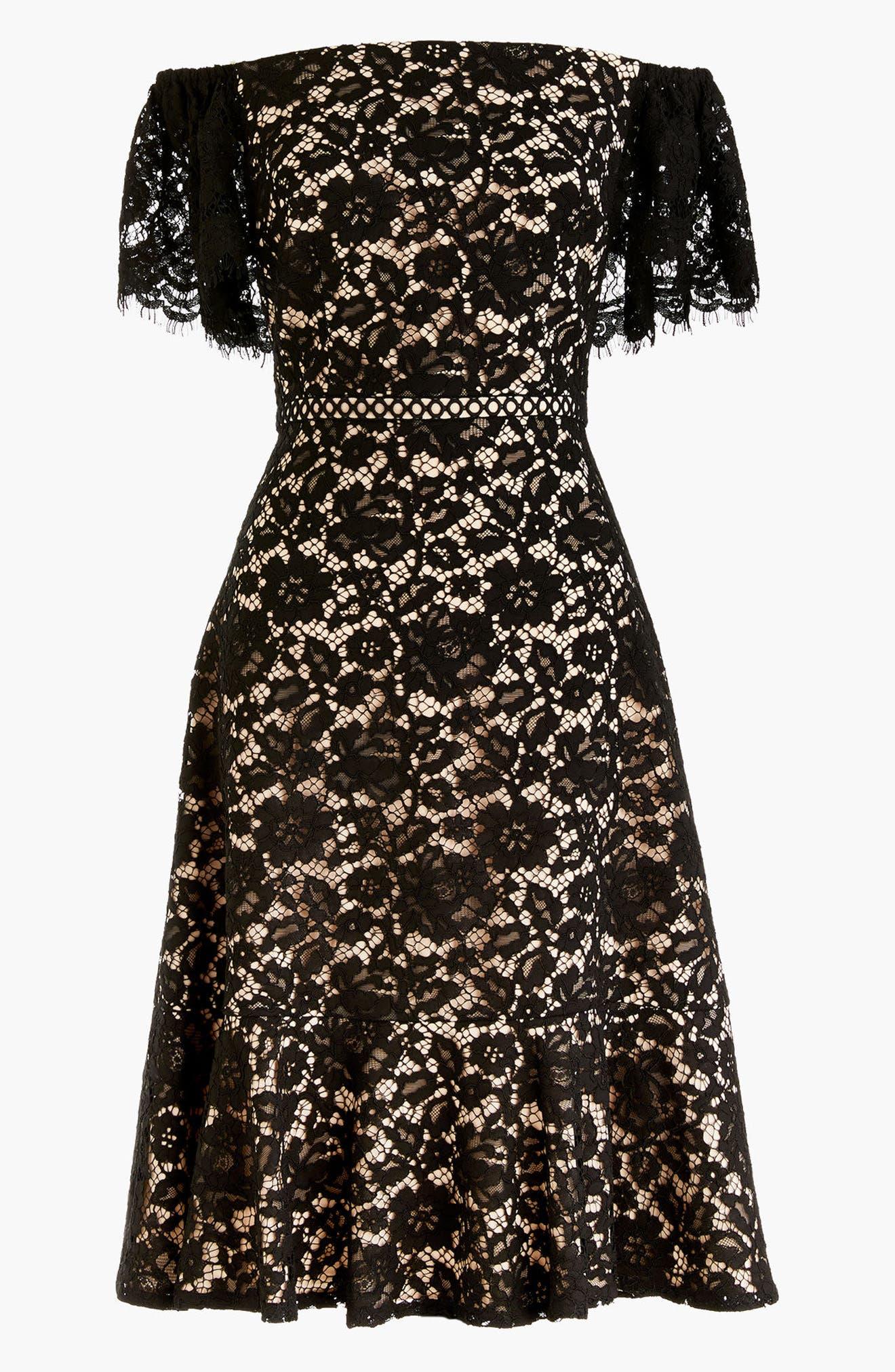 Marshmallow Lace Off the Shoulder Dress,                         Main,                         color, Black