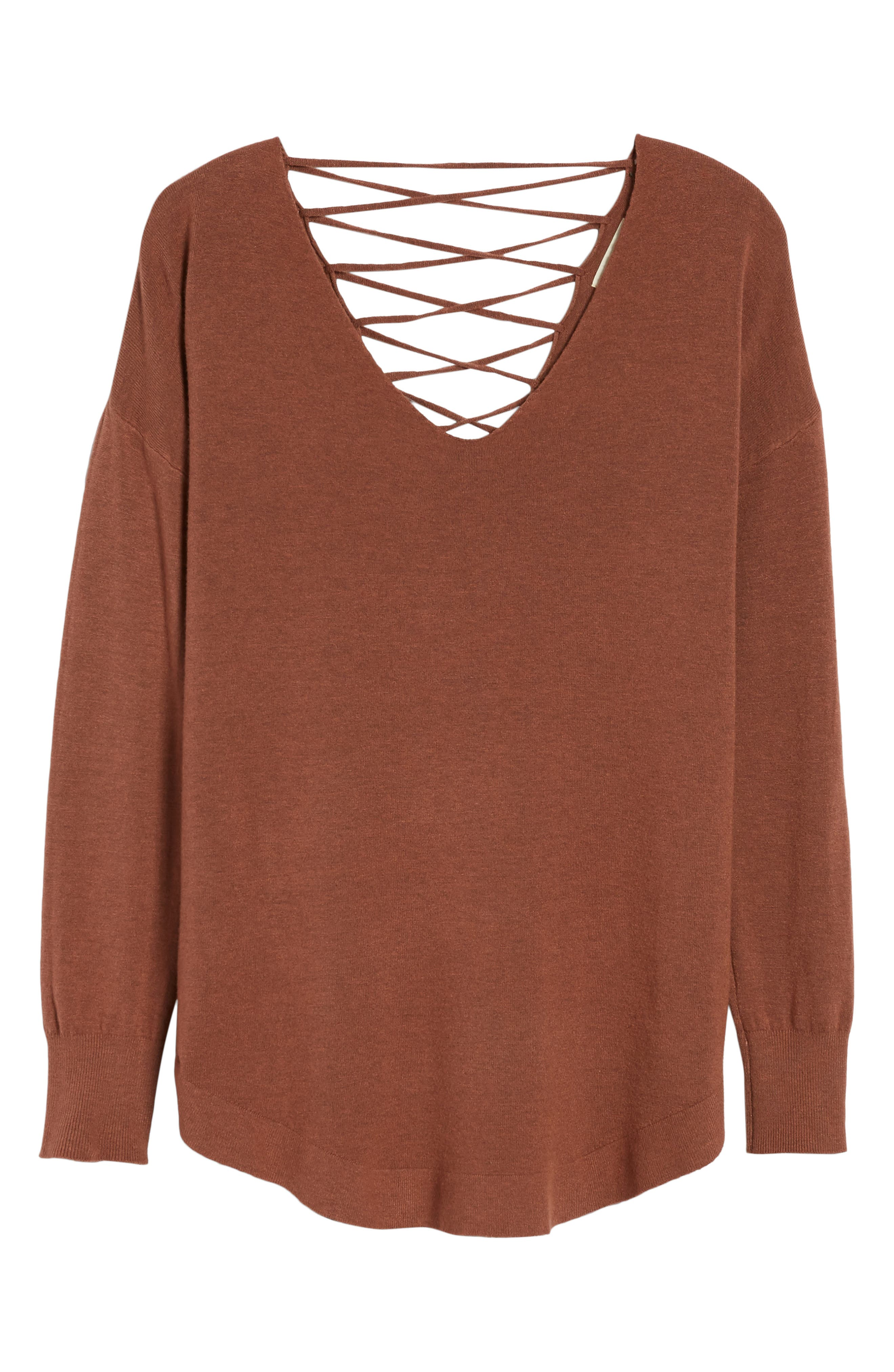 Laced Up V-Back Sweater,                             Alternate thumbnail 6, color,                             Ginger