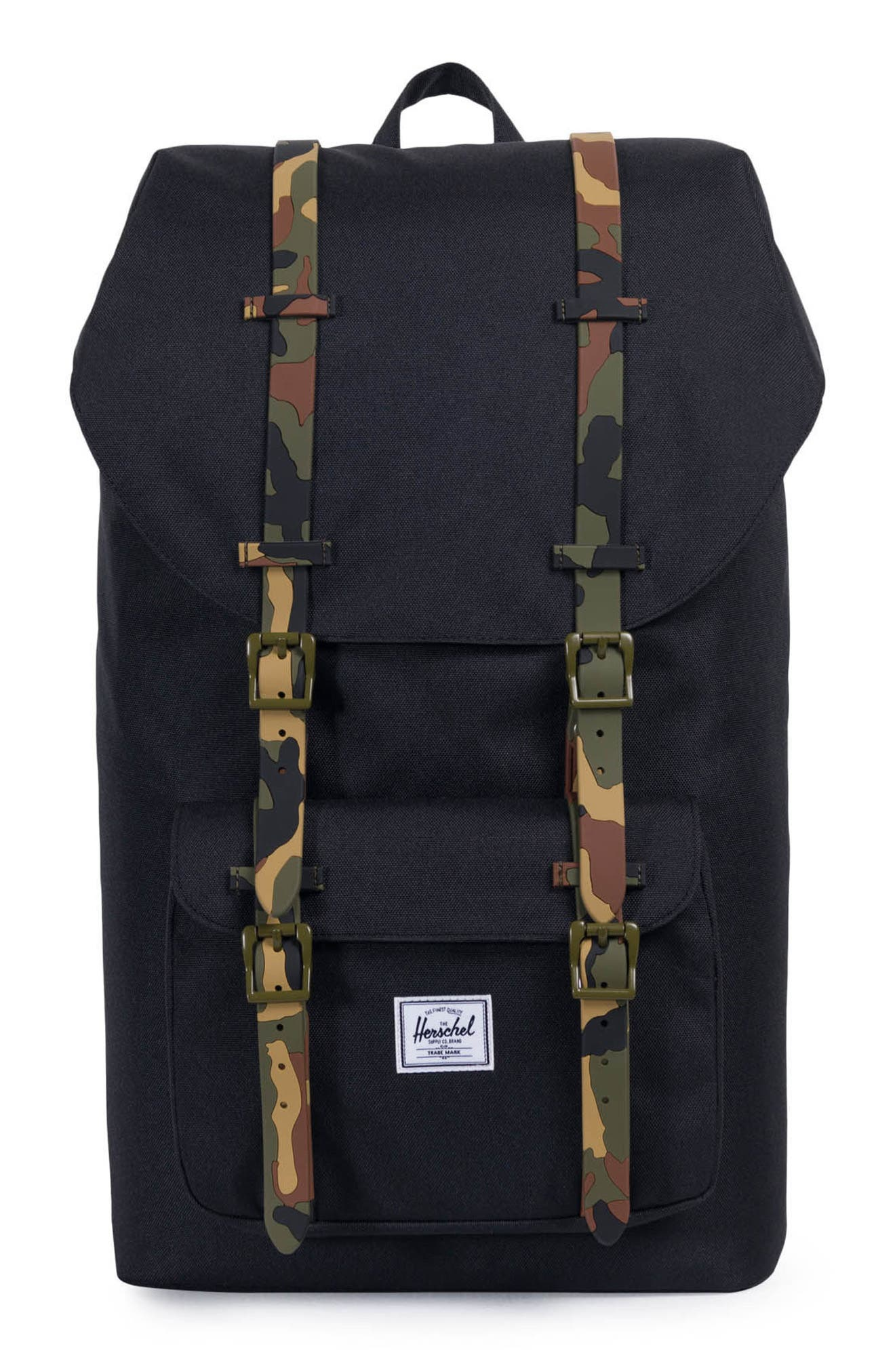 Little America Backpack,                             Main thumbnail 1, color,                             Black/ Woodland Camo Rubber