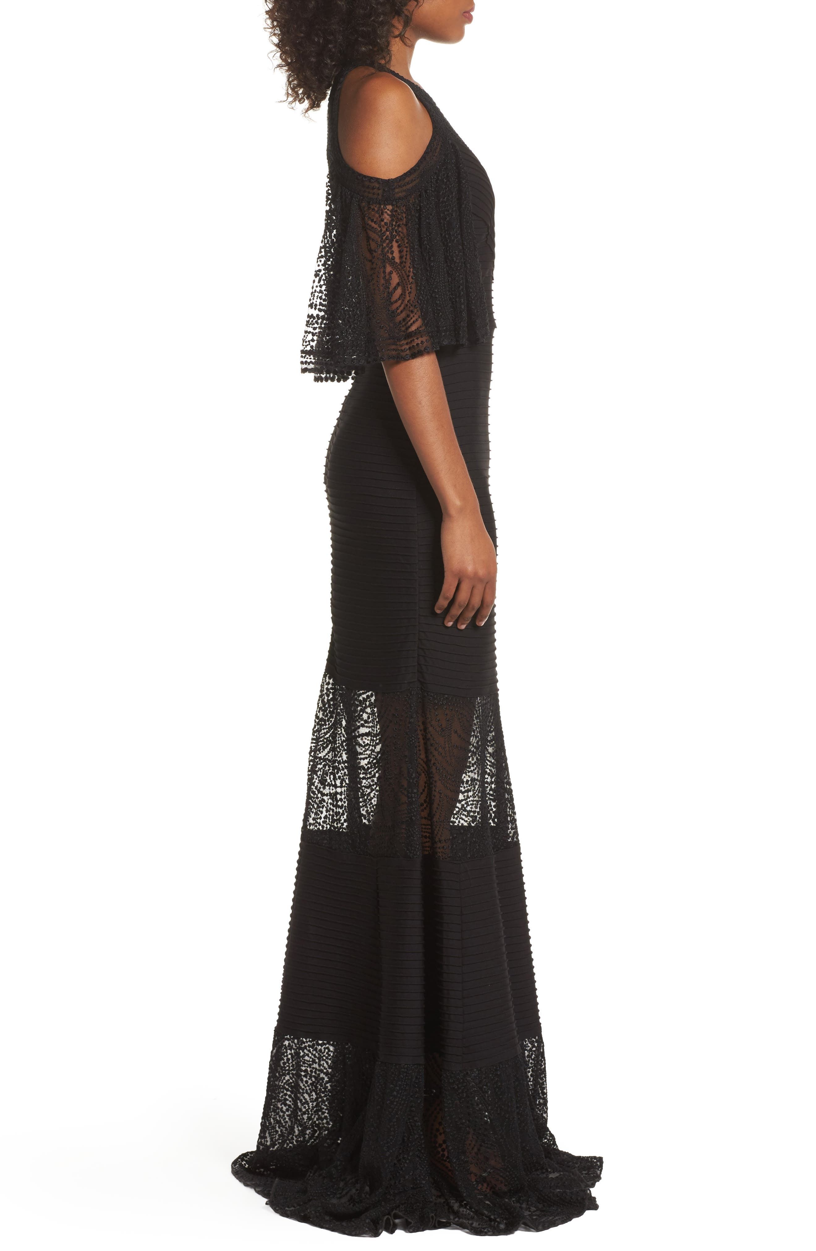 Embroidered Pintuck Cold Shoulder Gown,                             Alternate thumbnail 3, color,                             Black