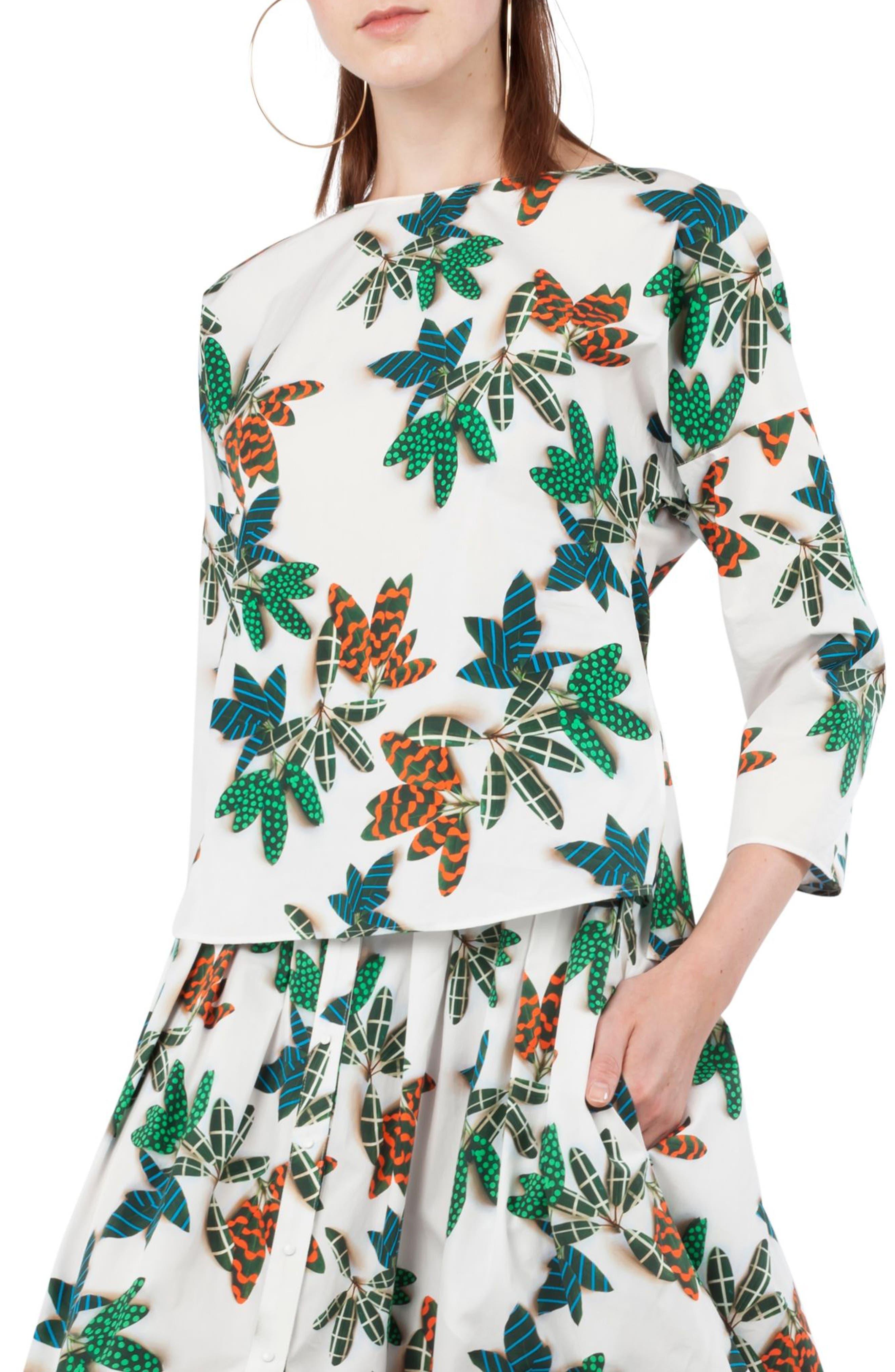 Alternate Image 1 Selected - Akris punto Tropical Print Cotton Blouse