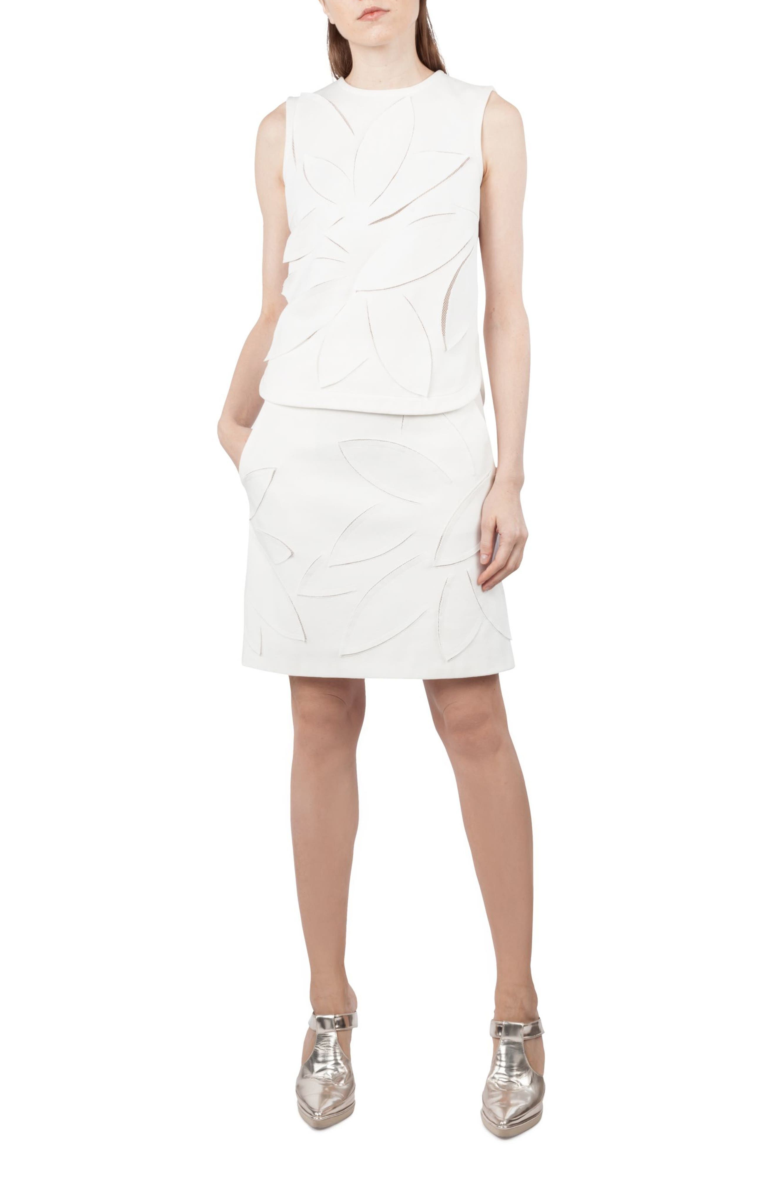Lasercut Leaf Pattern Jersey Skirt,                             Alternate thumbnail 3, color,                             Cream