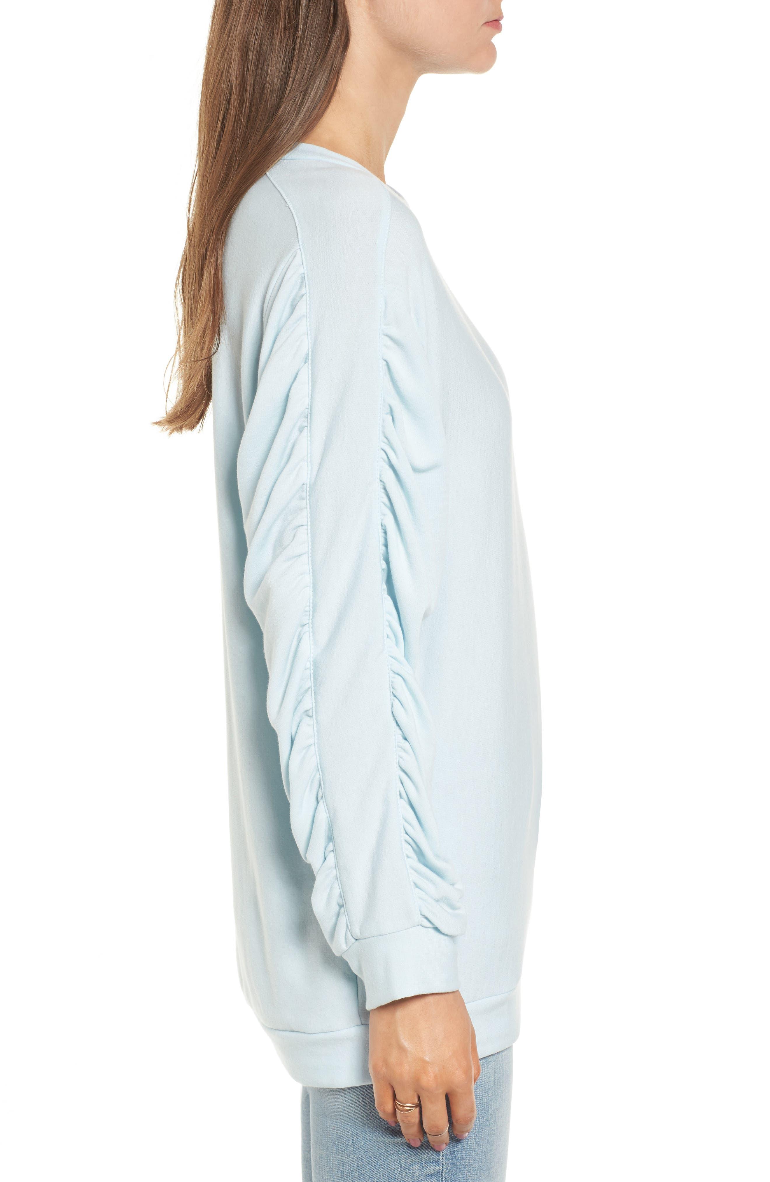Ruched Sleeve Sweatshirt,                             Alternate thumbnail 3, color,                             Light Blue