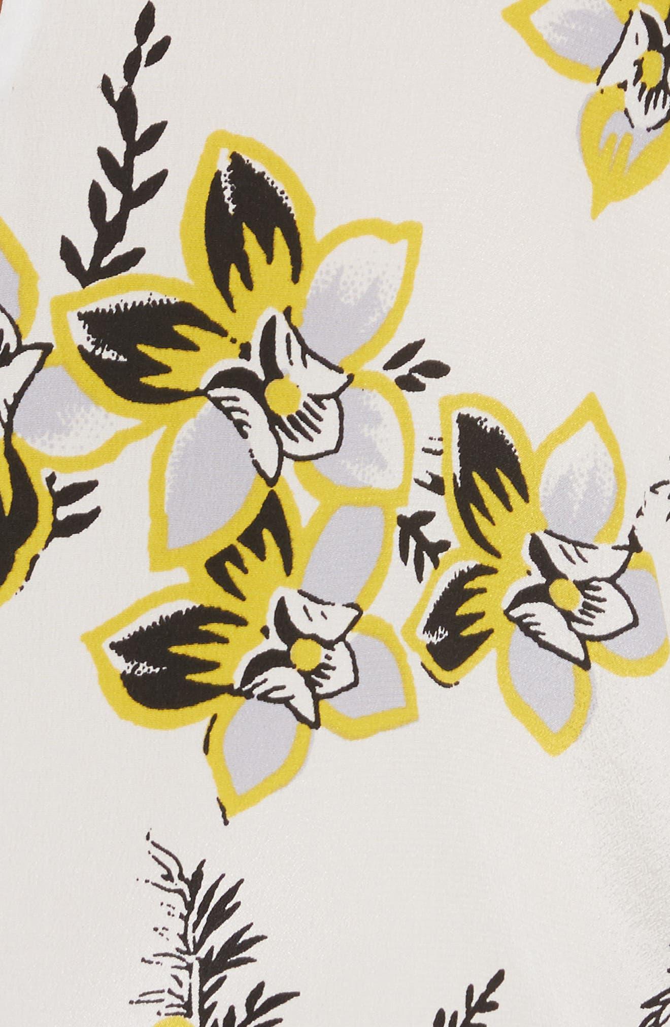Diane von Furstenberg Tie Neck Silk Blouse,                             Alternate thumbnail 5, color,                             Avalon Ivory