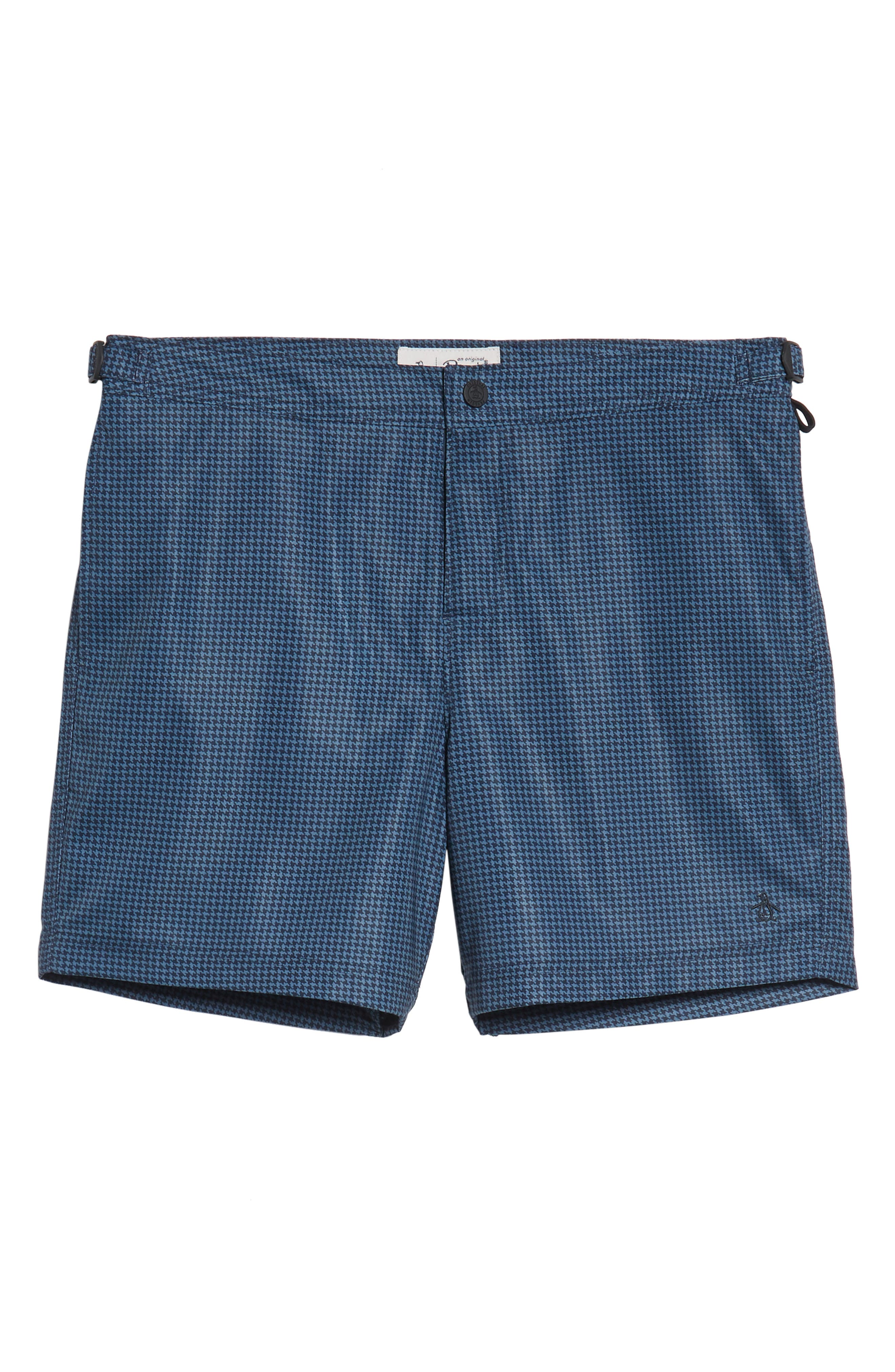 Houndstooth Stretch Volley Board Shorts,                             Alternate thumbnail 6, color,                             Dark Sapphire