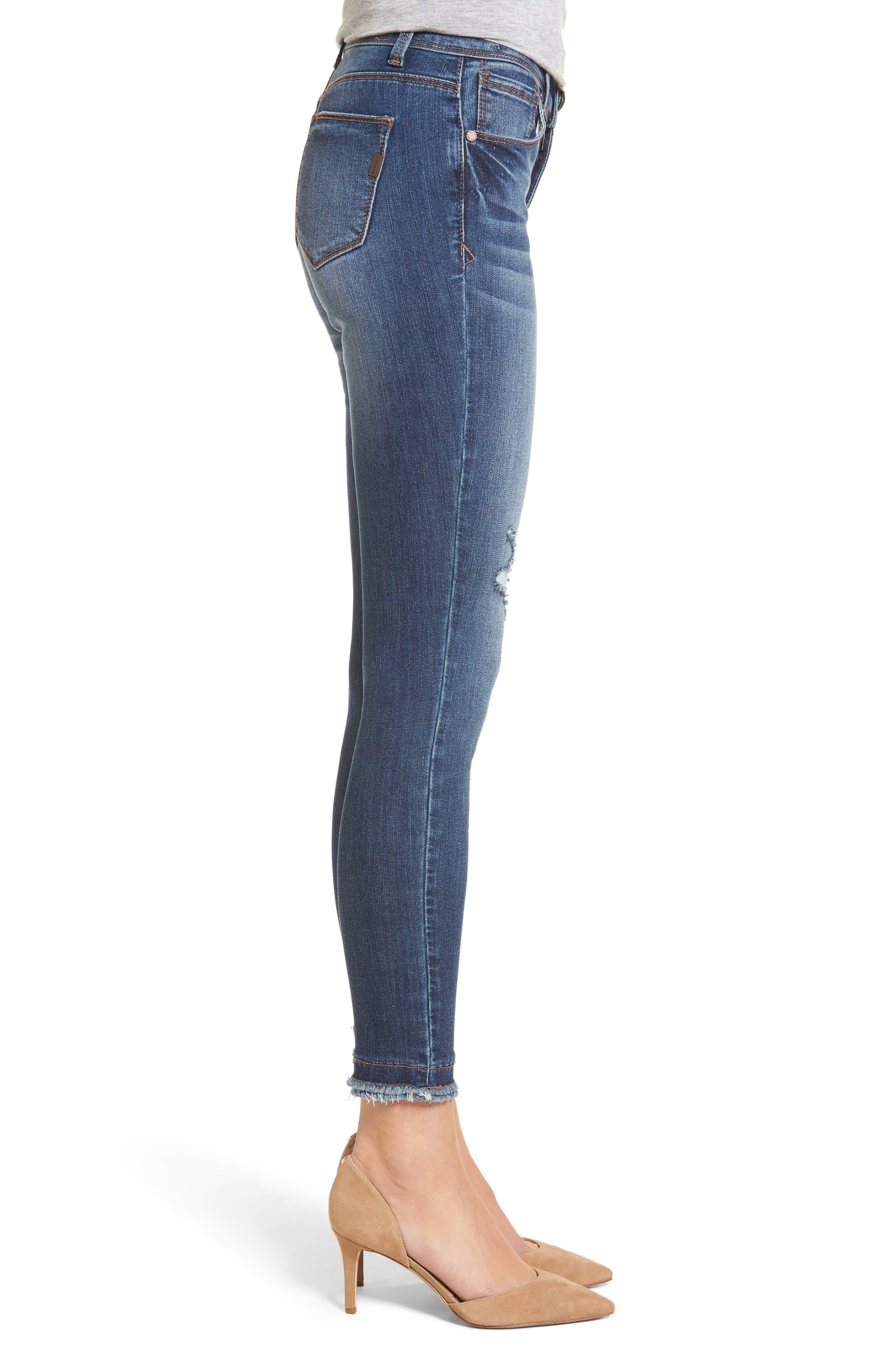 Double Fray Hem Skinny Jeans,                             Alternate thumbnail 3, color,                             Gerard