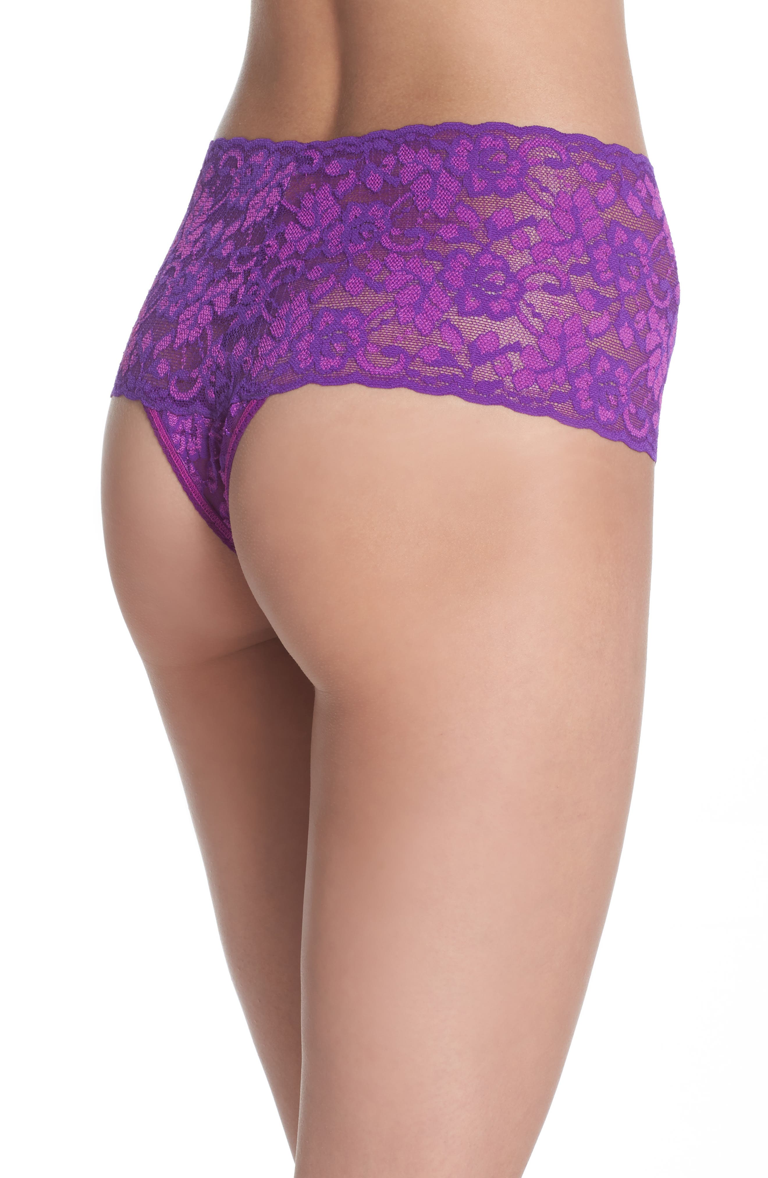 Alternate Image 2  - Hanky Panky Cross Dye Lace Retro Thong