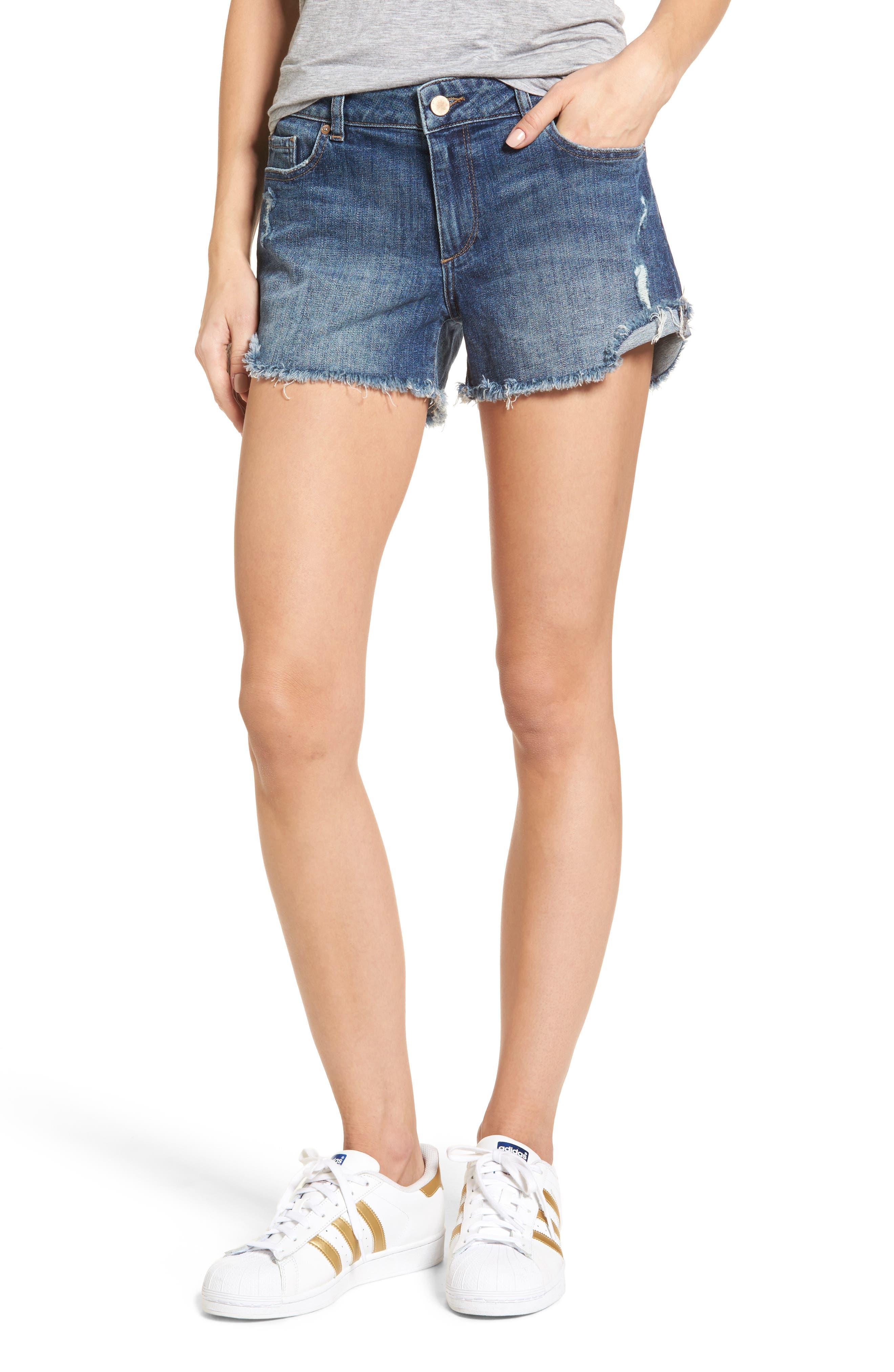 Karlie Cutoff Denim Boyfriend Shorts,                             Main thumbnail 1, color,                             Bluegrass
