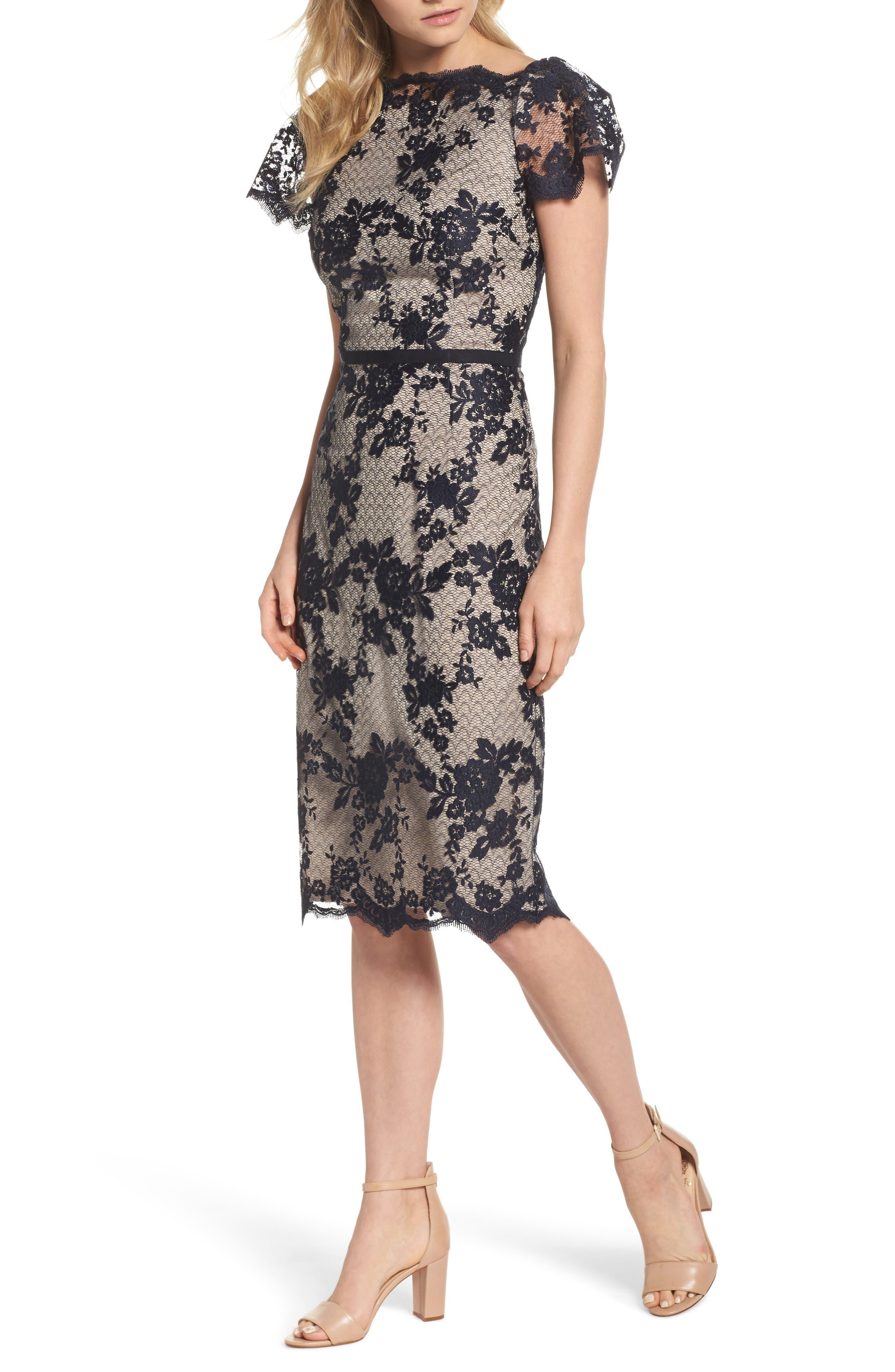 Lace Sheath Dress,                         Main,                         color, Dark Navy