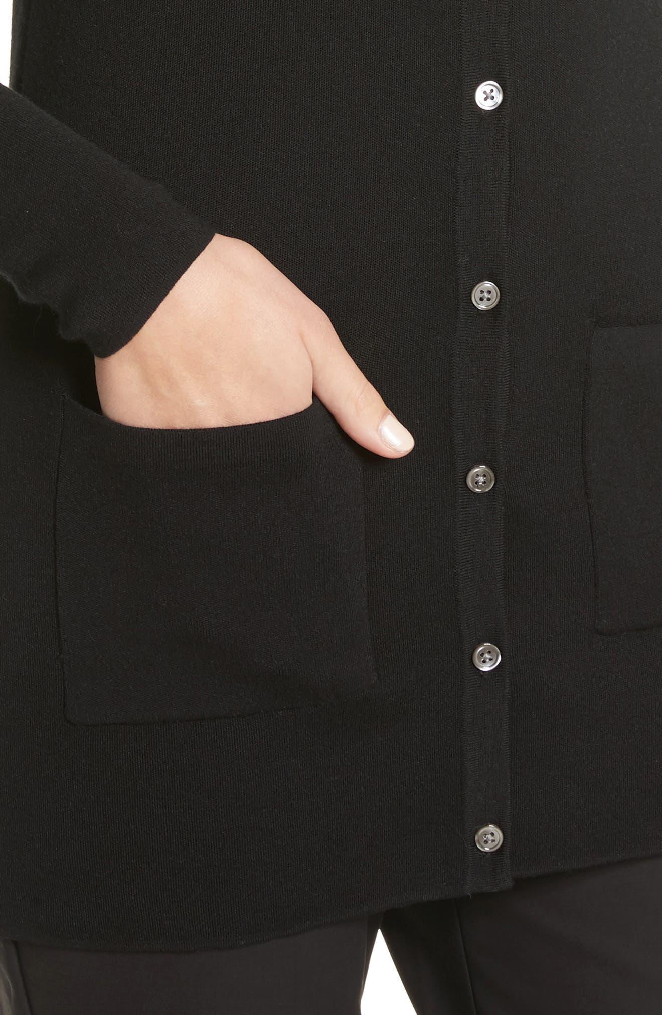 Cashmere Cardigan,                             Alternate thumbnail 4, color,                             Black