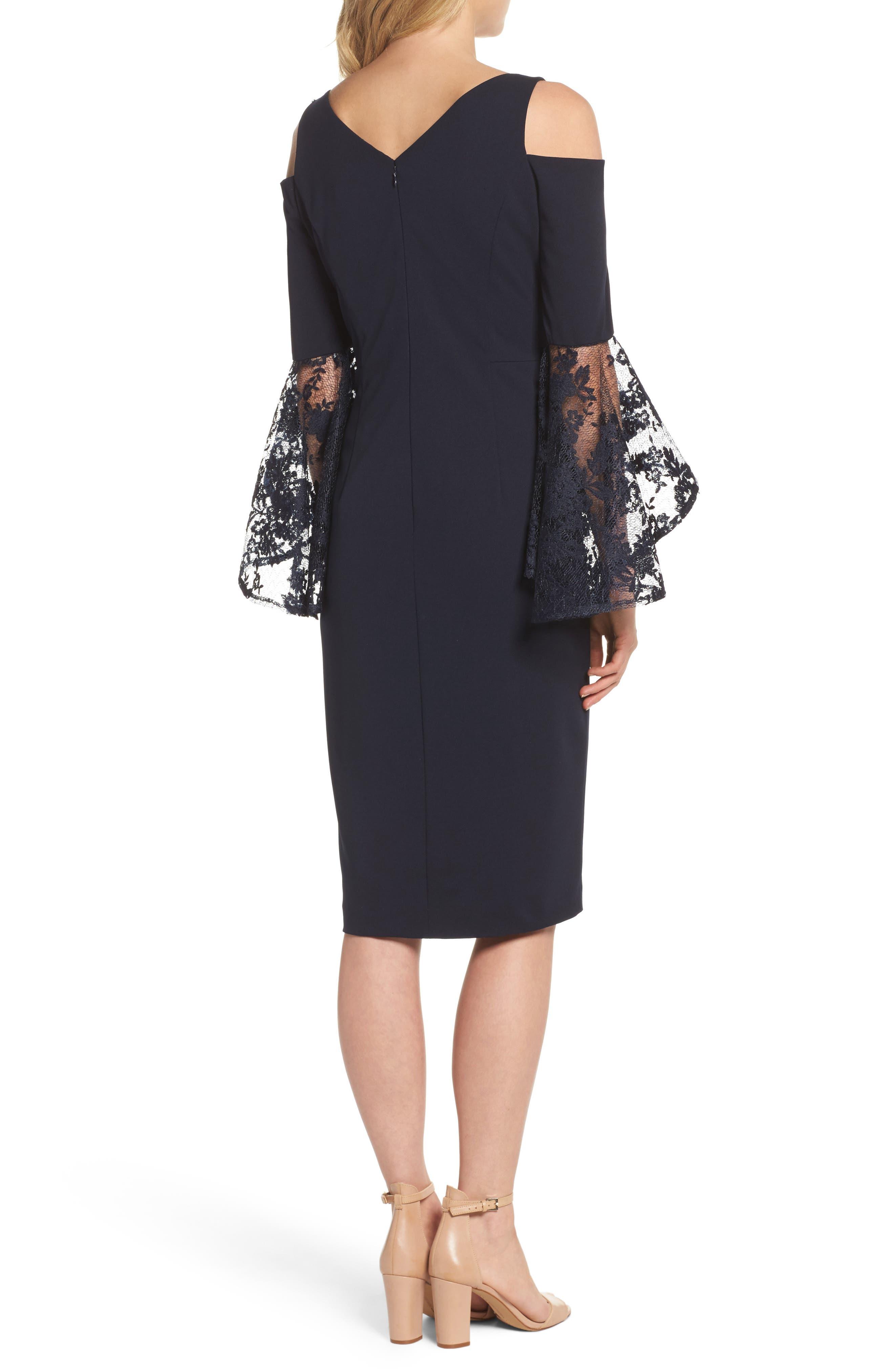 Cold Shoulder Sheath Dress,                             Alternate thumbnail 2, color,                             Dark Navy