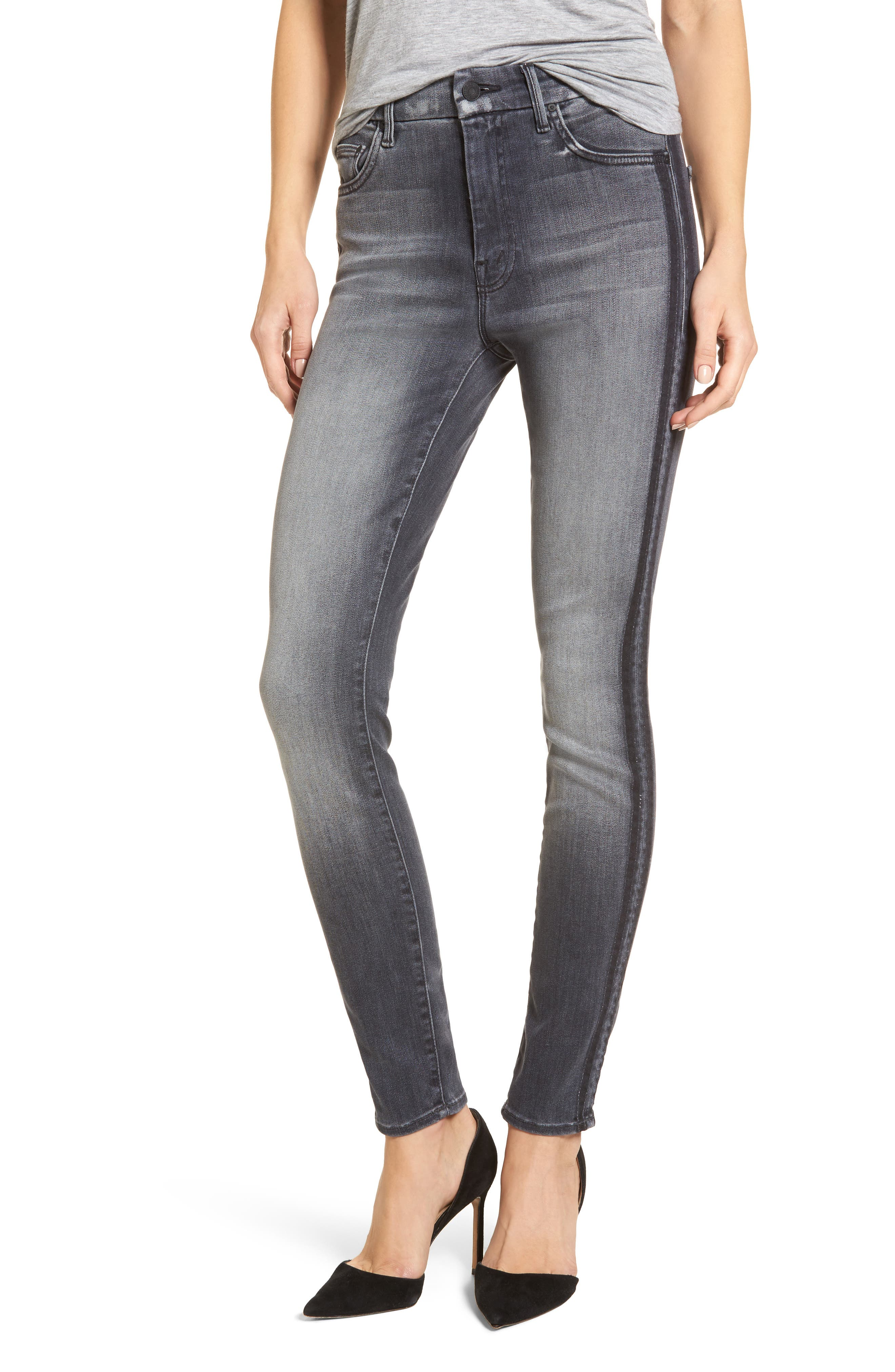 MOTHER The Looker High Waist Skinny Jeans (Miss Moody Two Shoes Racer)