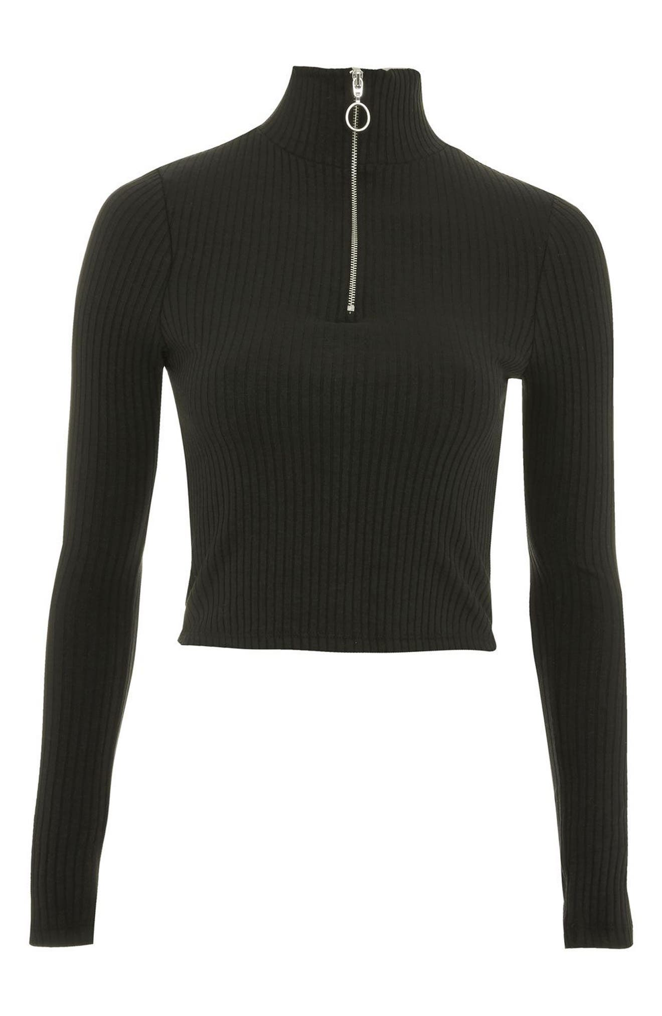 Zip Rib Knit Crop Top,                             Alternate thumbnail 4, color,                             Black